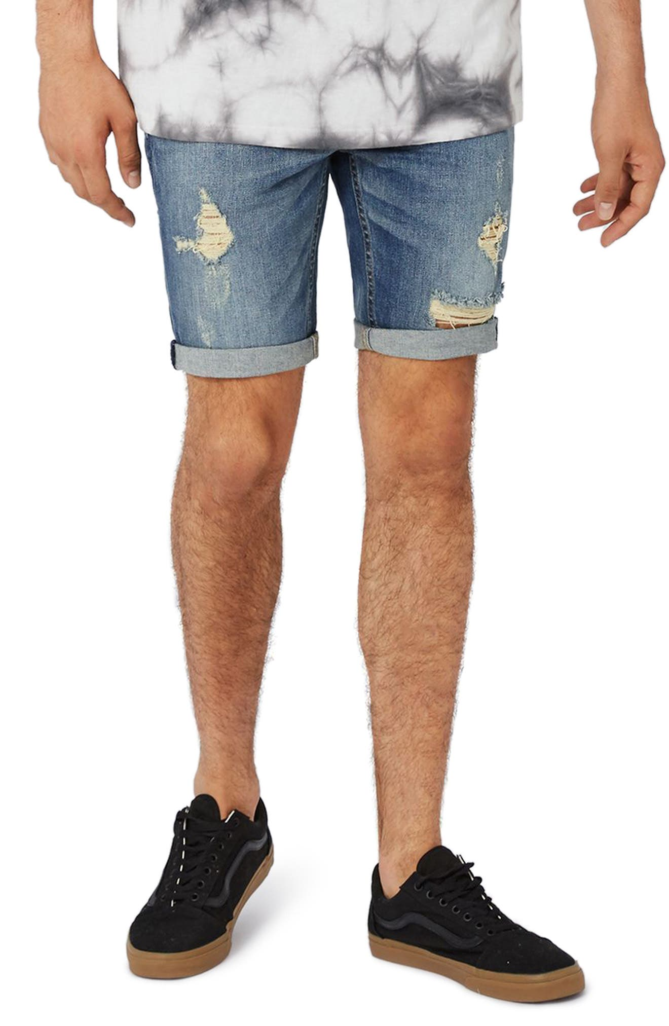 Topman Yosemite Rip Skinny Denim Shorts