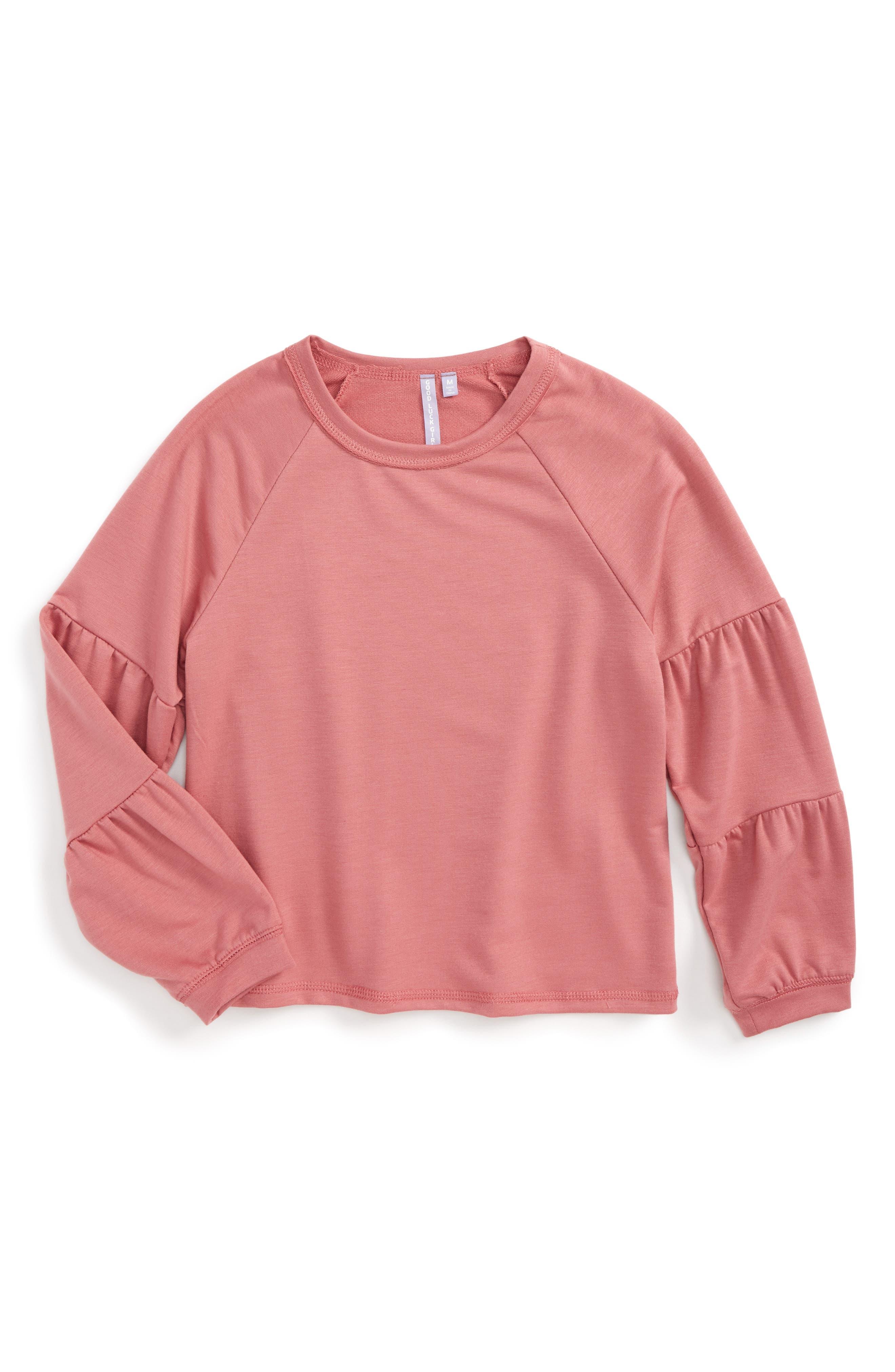 Good Luck Gem Tiered Sleeve Sweatshirt (Big Girls)