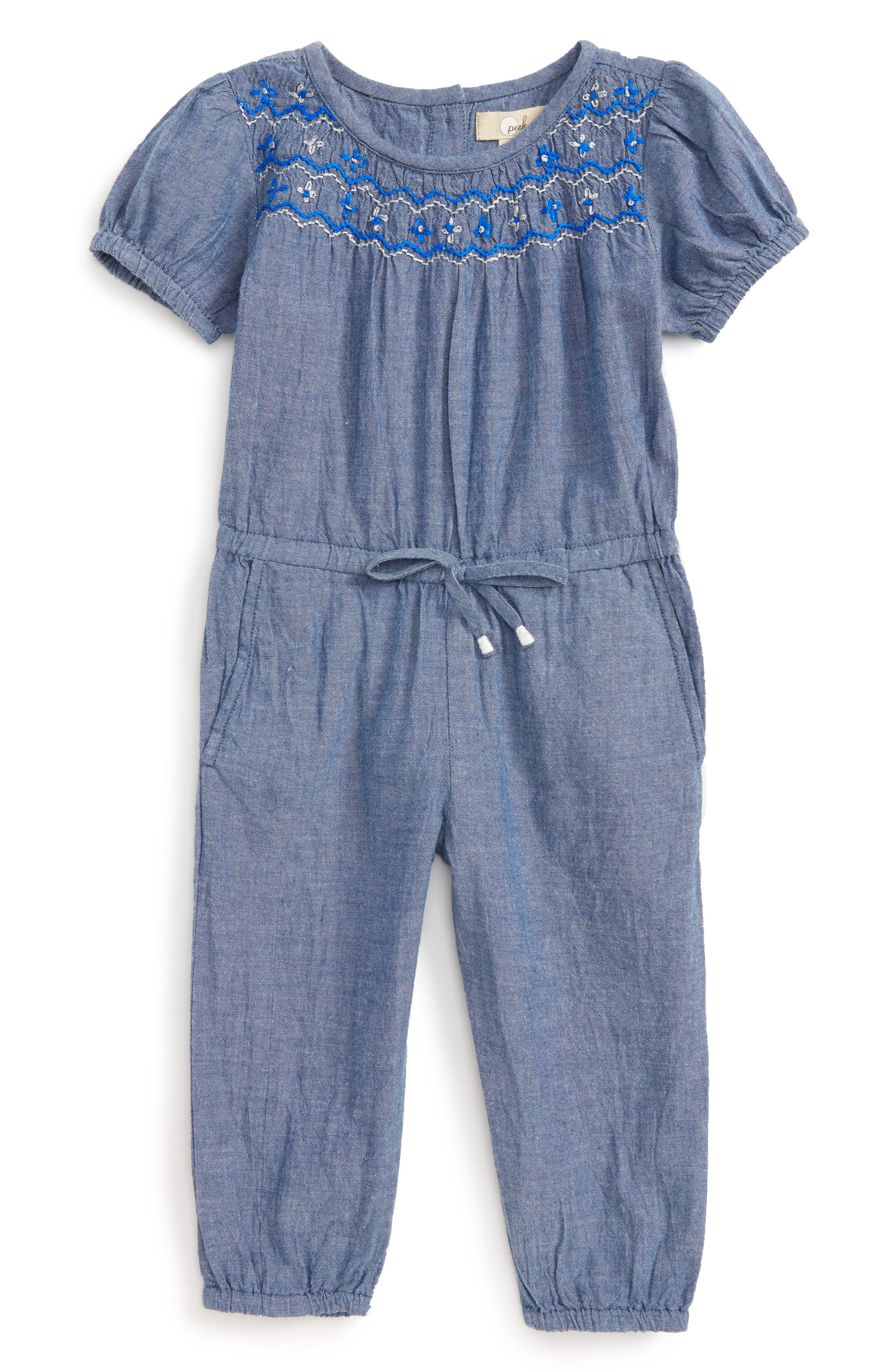 Peek Chelsea Chambray Romper (Baby Girls)