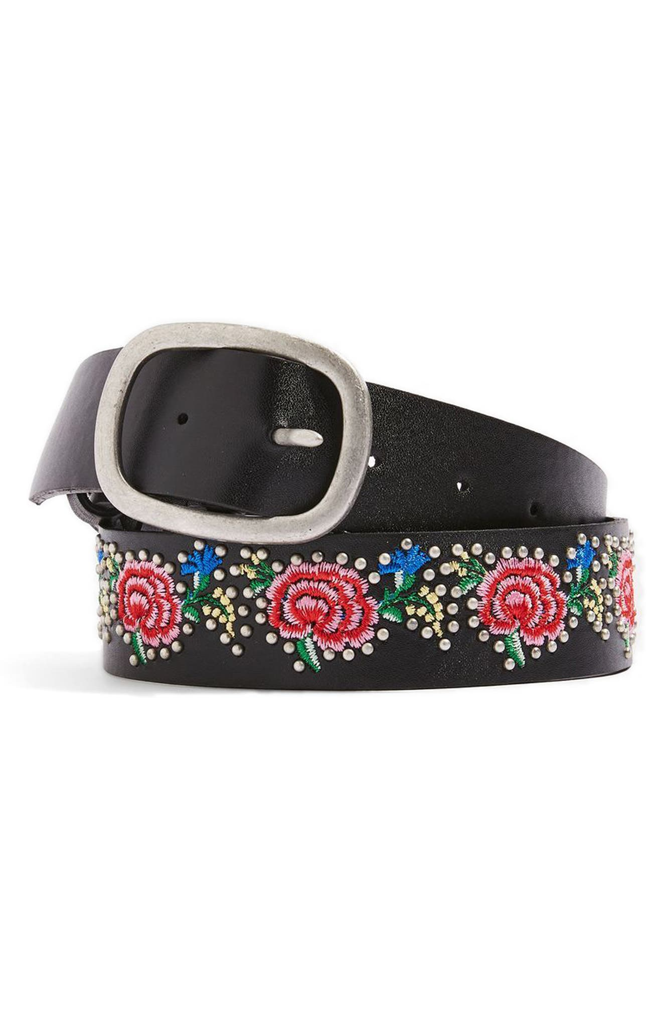 Topshop Floral Embroidered Belt