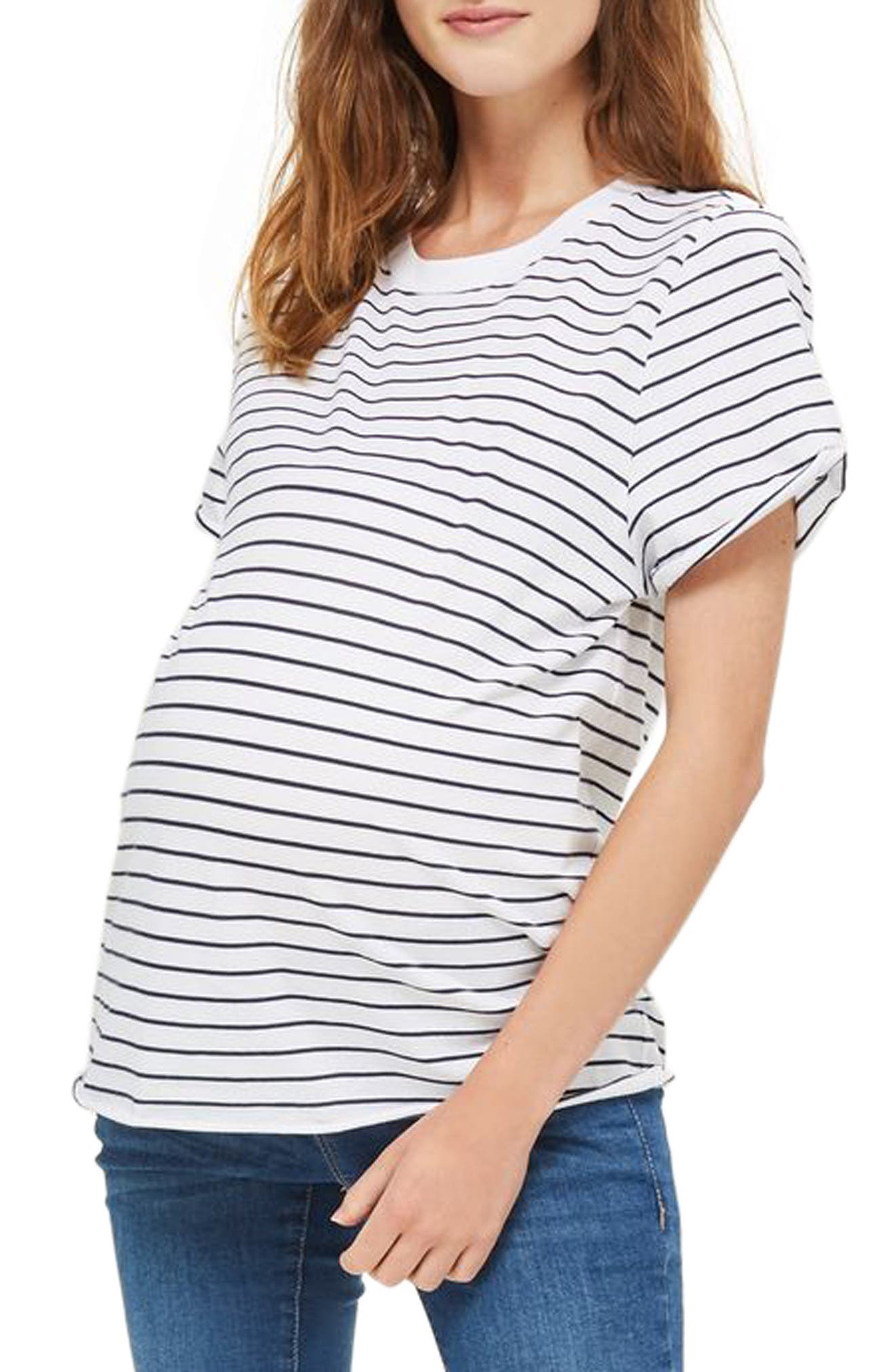 Topshop Stripe Roll Sleeve Maternity Tee
