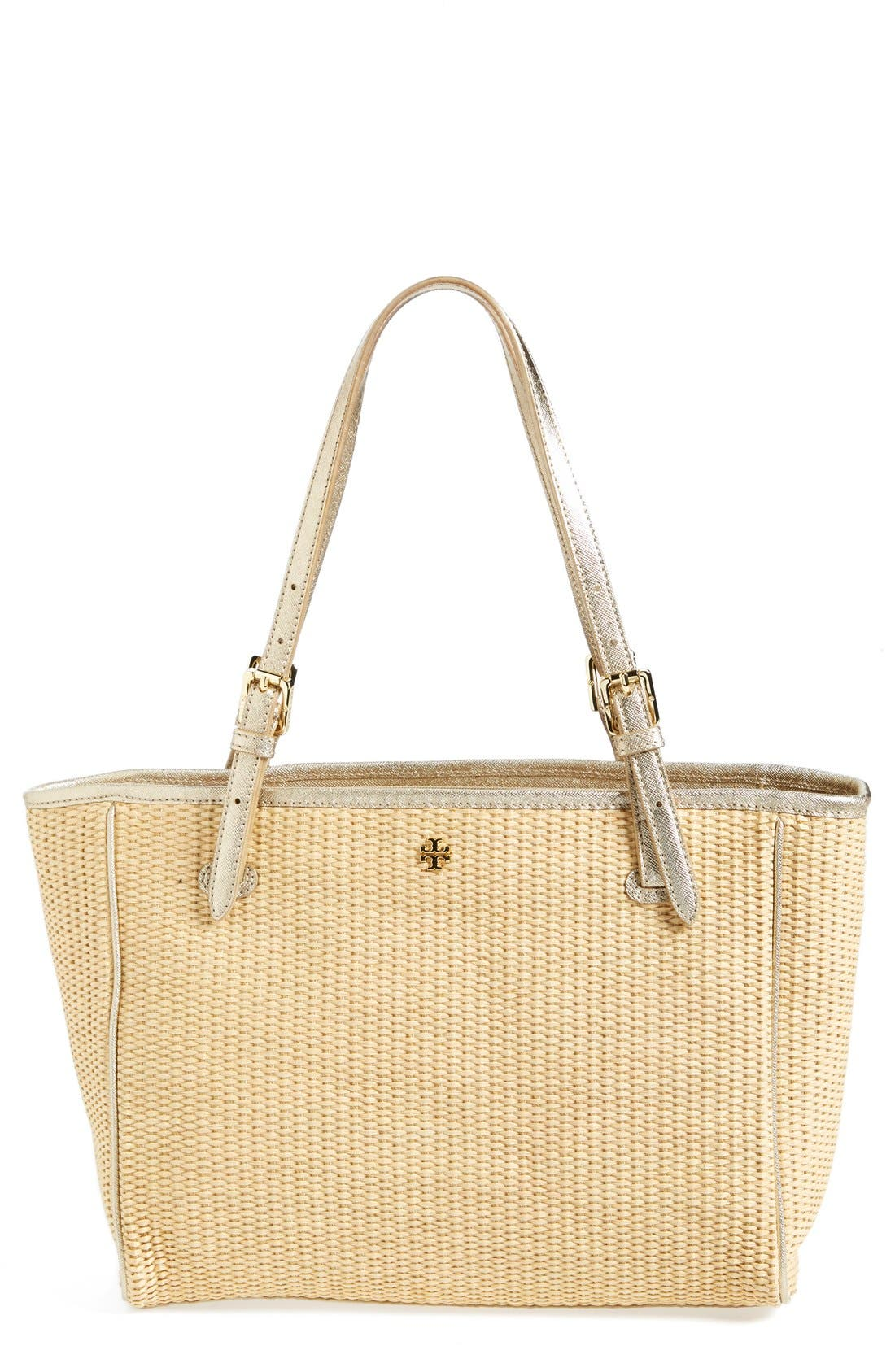 Alternate Image 1 Selected - Tory Burch 'Small York' Straw Buckle Tote