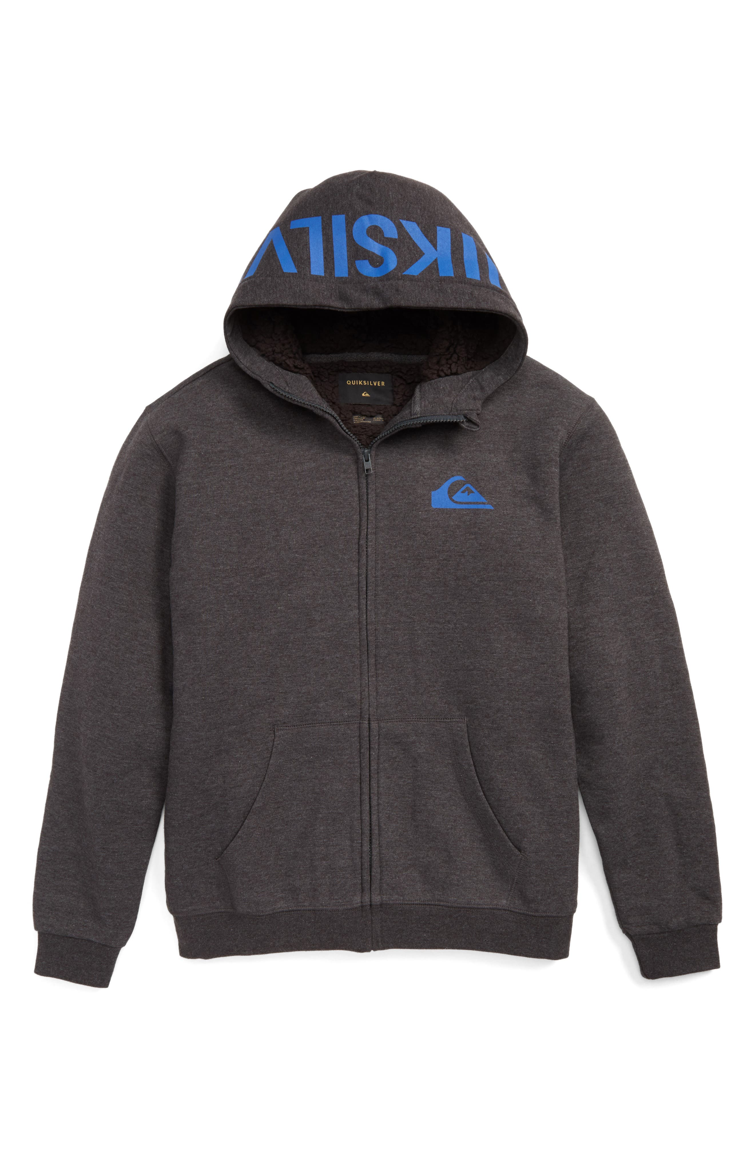 Quiksilver Best Wave Faux Shearling Lined Hoodie (Big Boys)