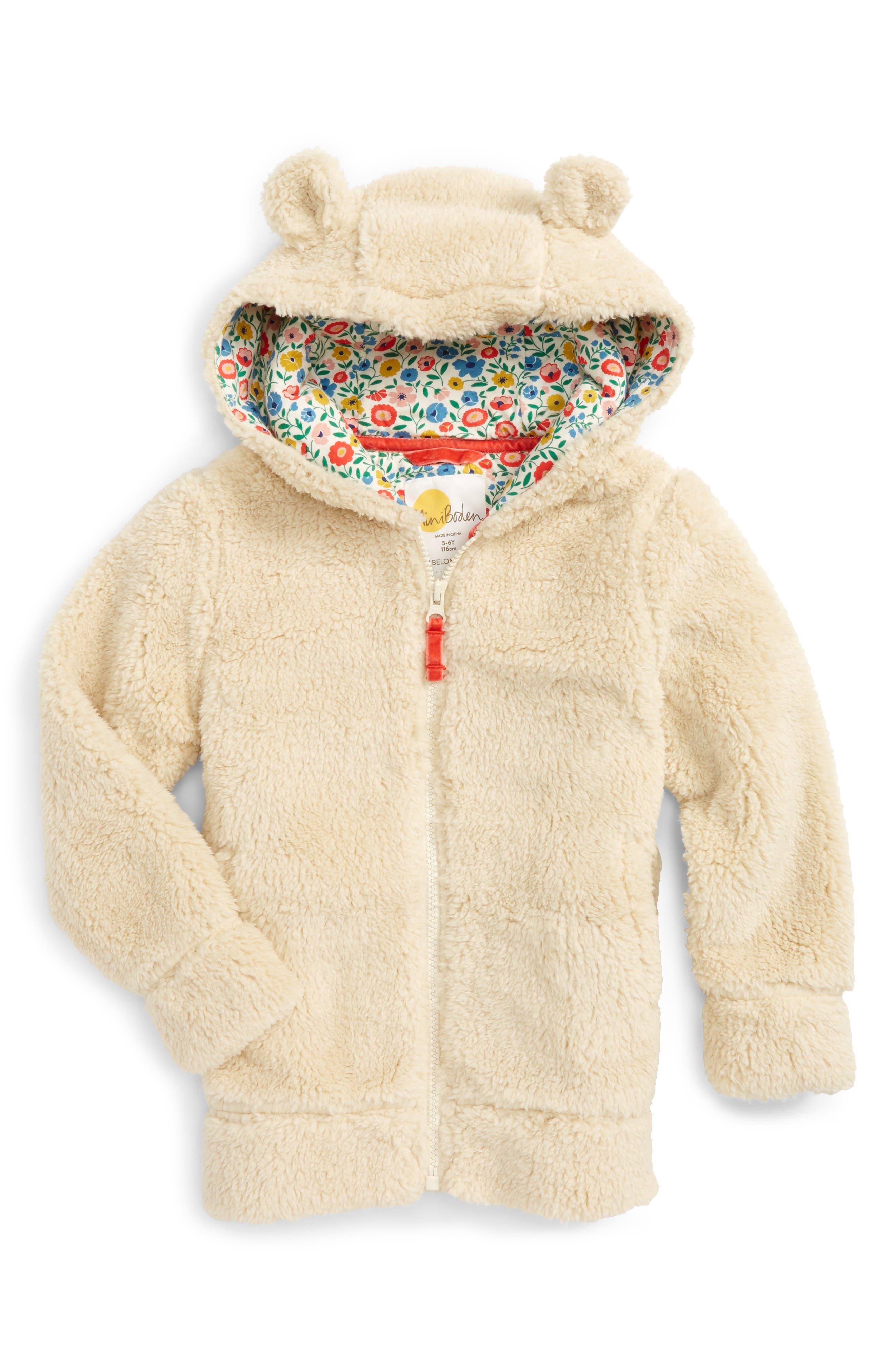 Mini Boden Cosy Teddy Bear Hoodie (Toddler Girls, Little Girls & Big Girls)