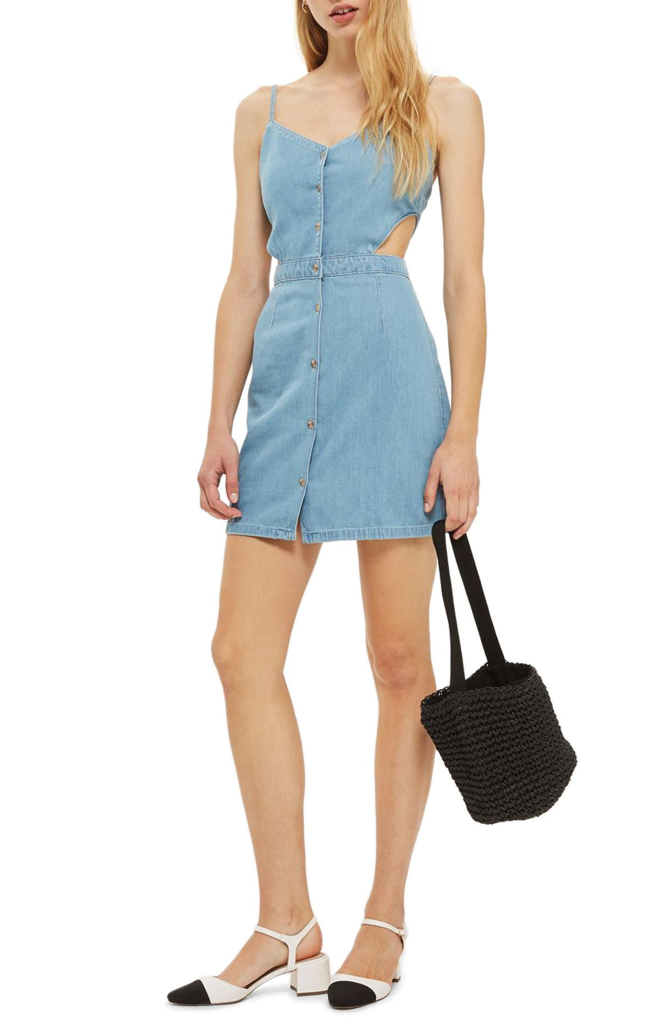 Topshop Cutout Denim Dress
