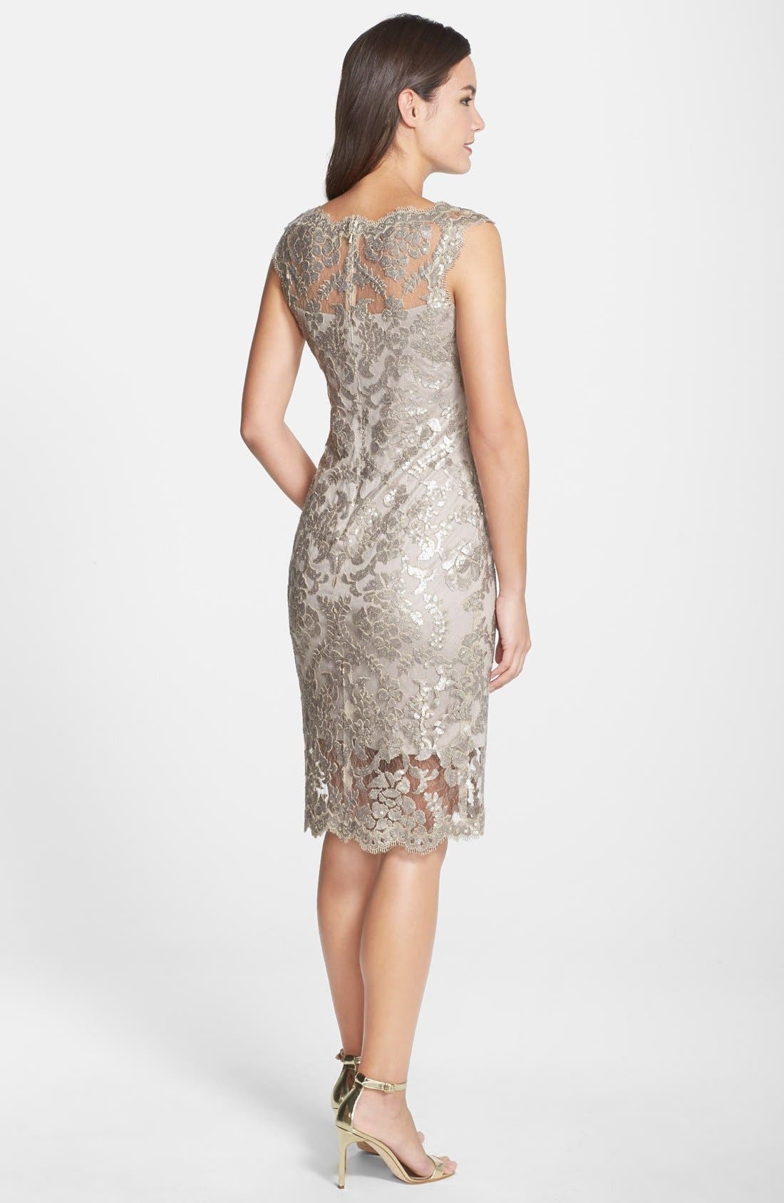 Alternate Image 2  - Tadashi Shoji Sequin Illusion Lace Dress (Regular & Petite)
