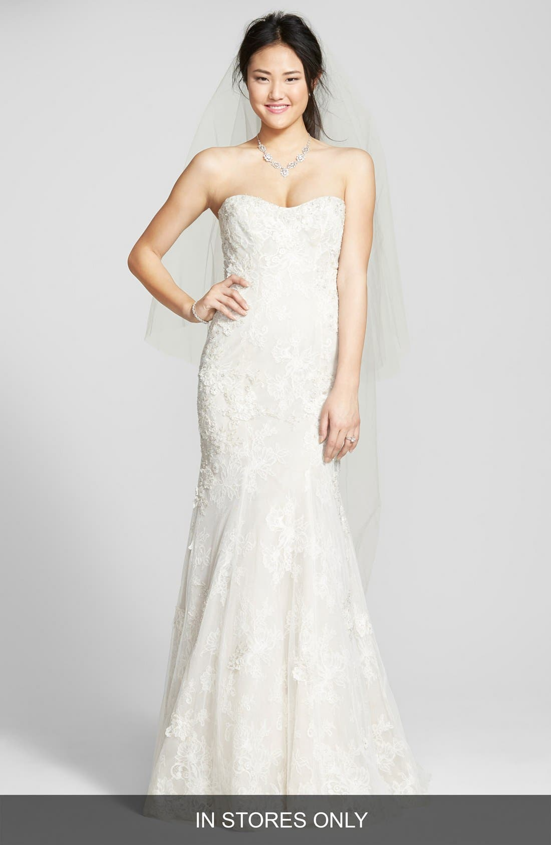 BLISS MONIQUE LHUILLIER Strapless Beaded Lace Trumpet Gown