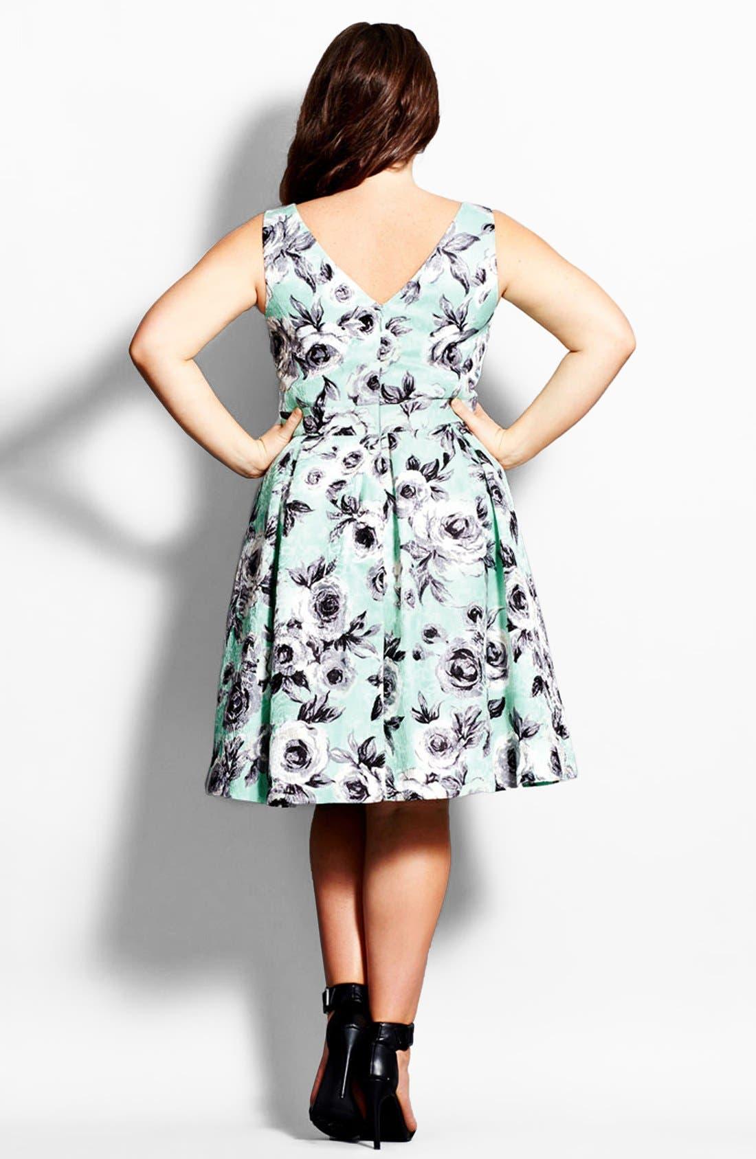 Alternate Image 2  - City Chic Rose Jacquard Fit & Flare Dress (Plus Size)