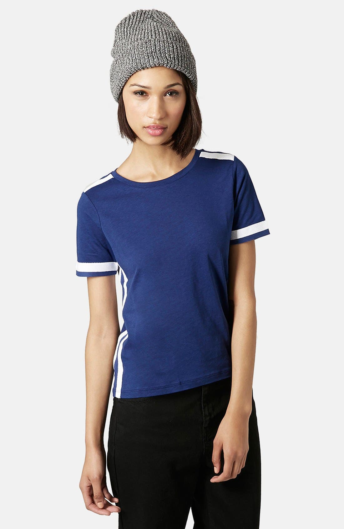 Alternate Image 1 Selected - Topshop Grosgrain Trim Crewneck Tee