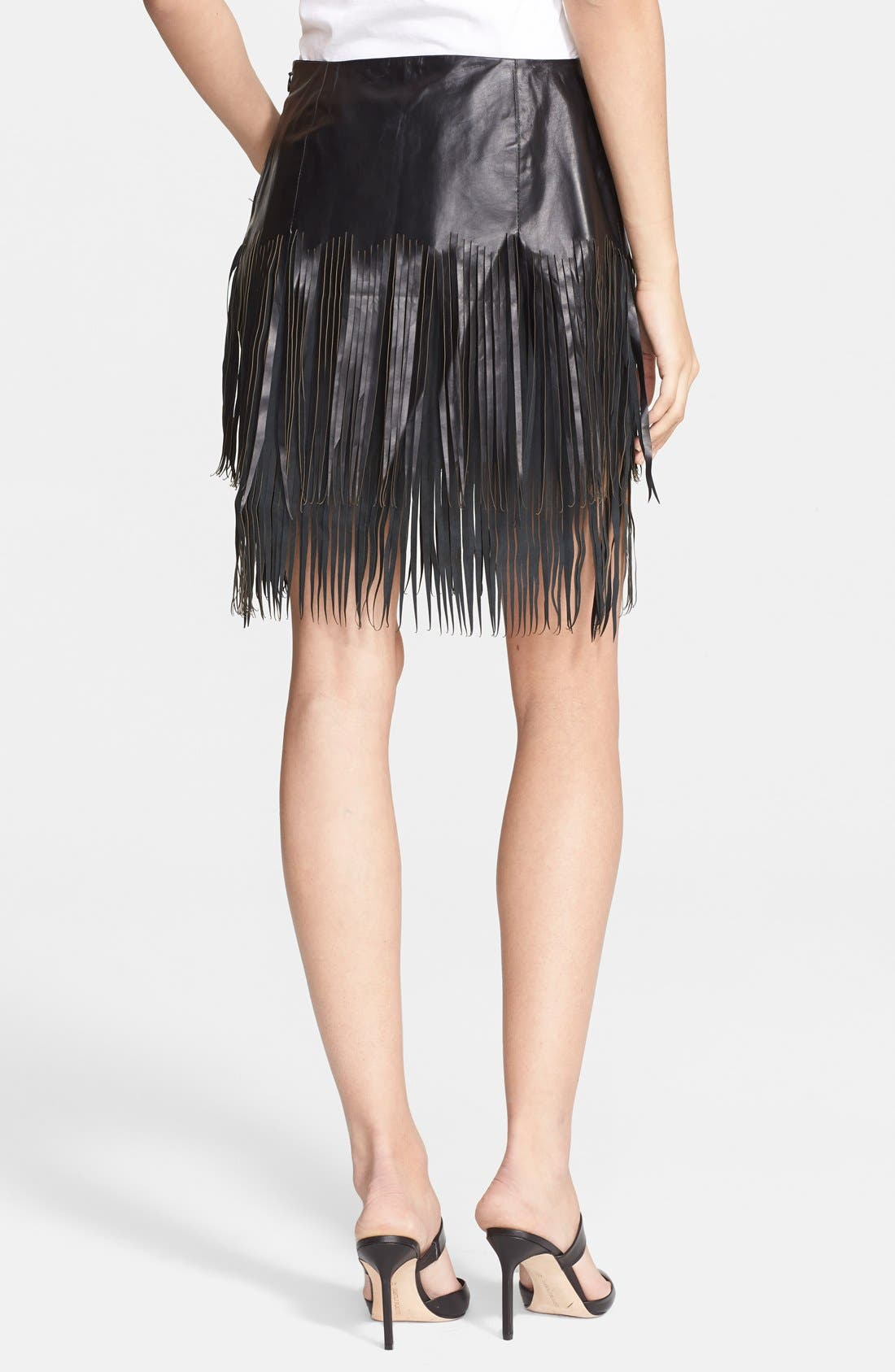 Alternate Image 2  - BLK DNM 'Leather Skirt 40' Fringe Miniskirt