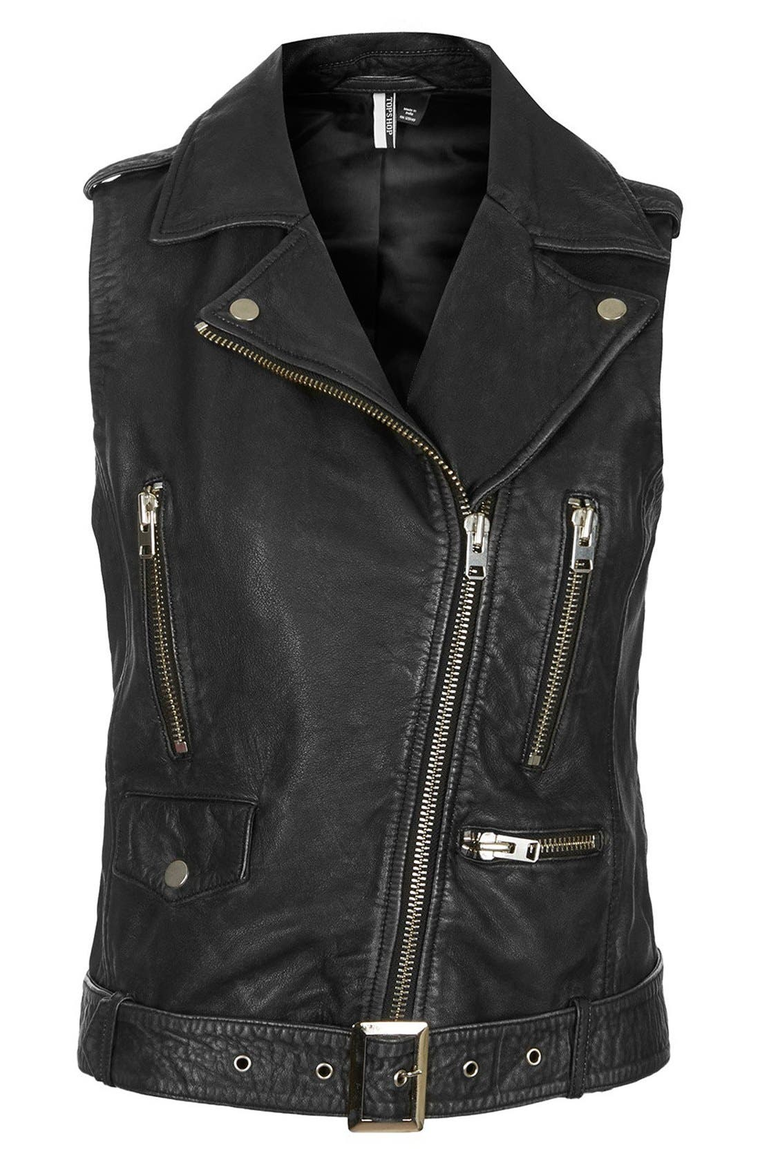 Alternate Image 3  - Topshop 'Sylvia' Leather Biker Vest