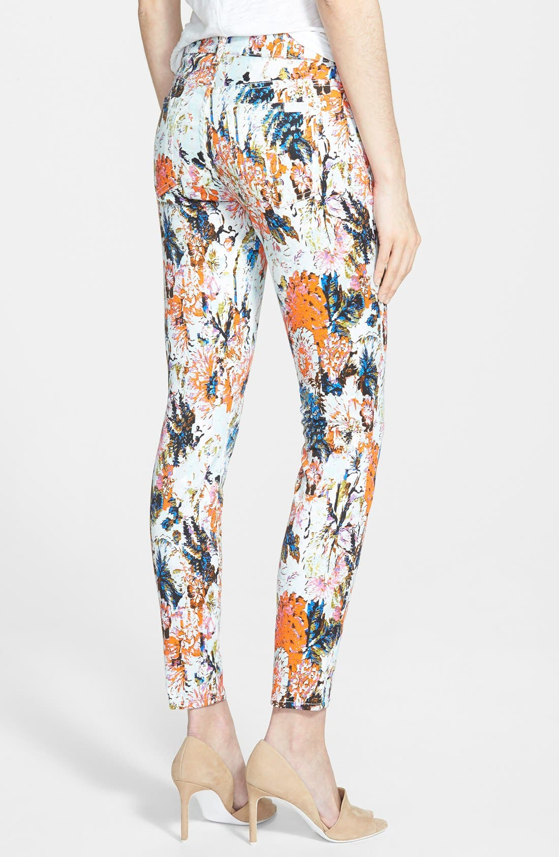 Alternate Image 2  - 7 for All Mankind® Ankle Skinny Jeans (Floral Haze Print)