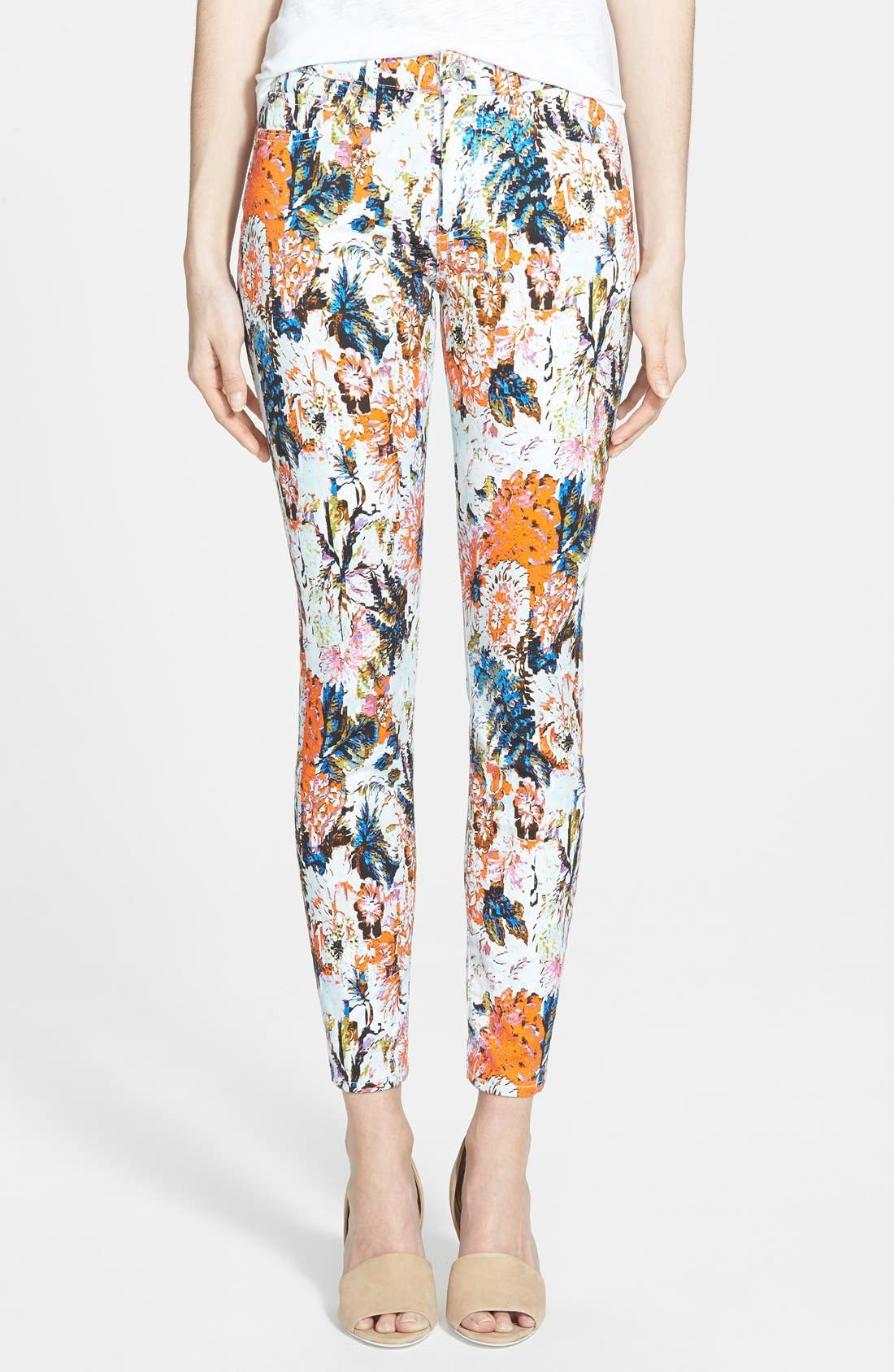 Alternate Image 1 Selected - 7 for All Mankind® Ankle Skinny Jeans (Floral Haze Print)