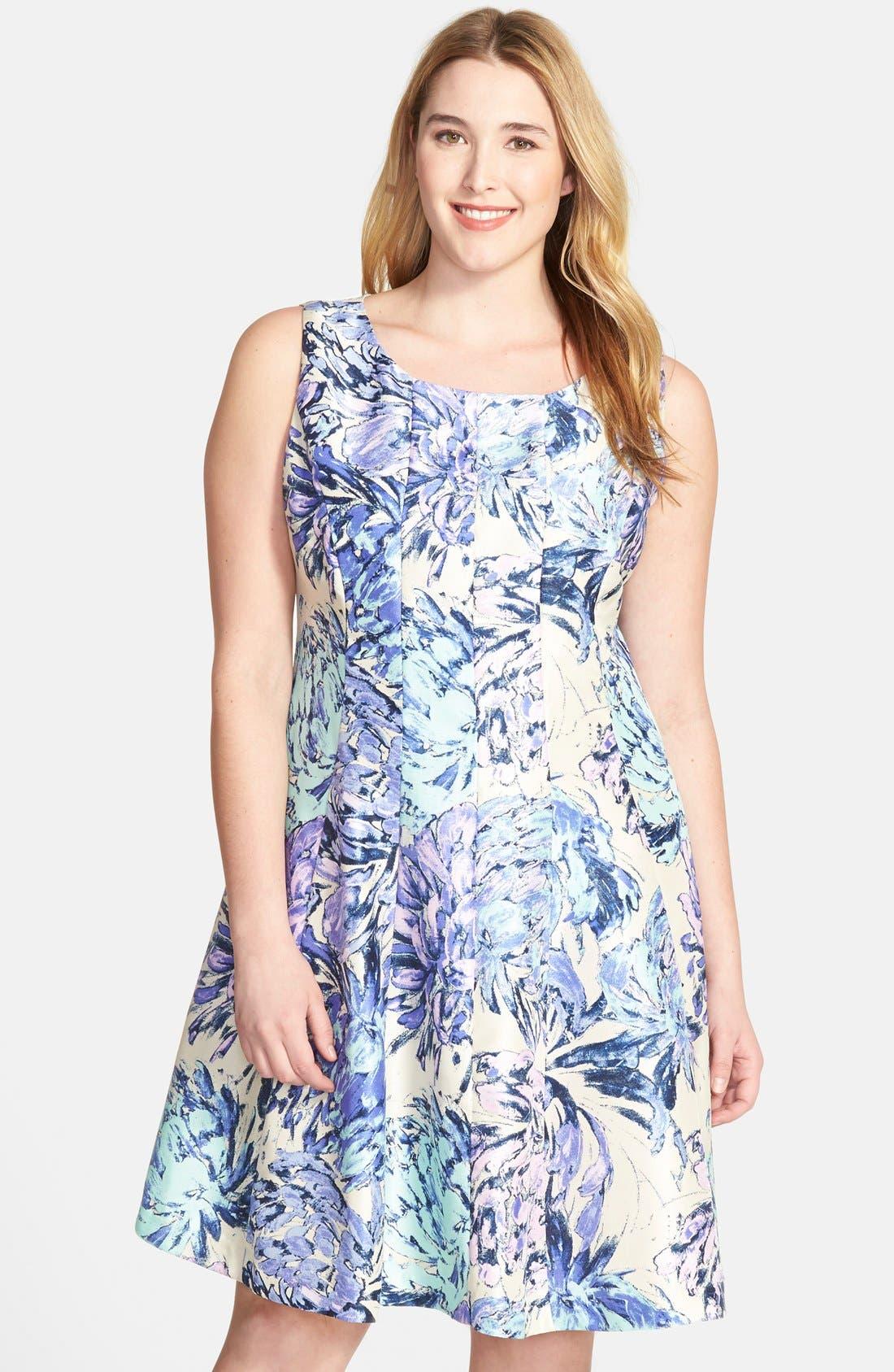 Alternate Image 1 Selected - Taylor Dresses Floral Shantung Fit & Flare Dress (Plus Size)