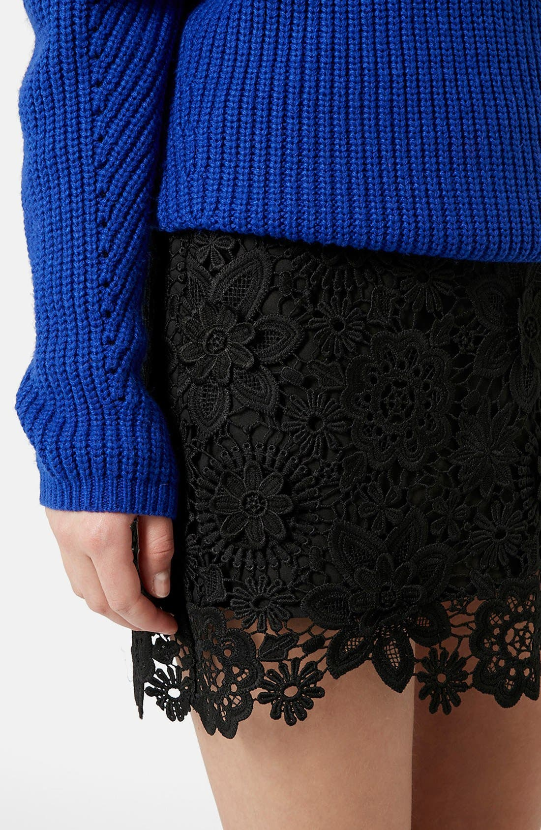 Alternate Image 4  - Topshop 3D Lace Miniskirt