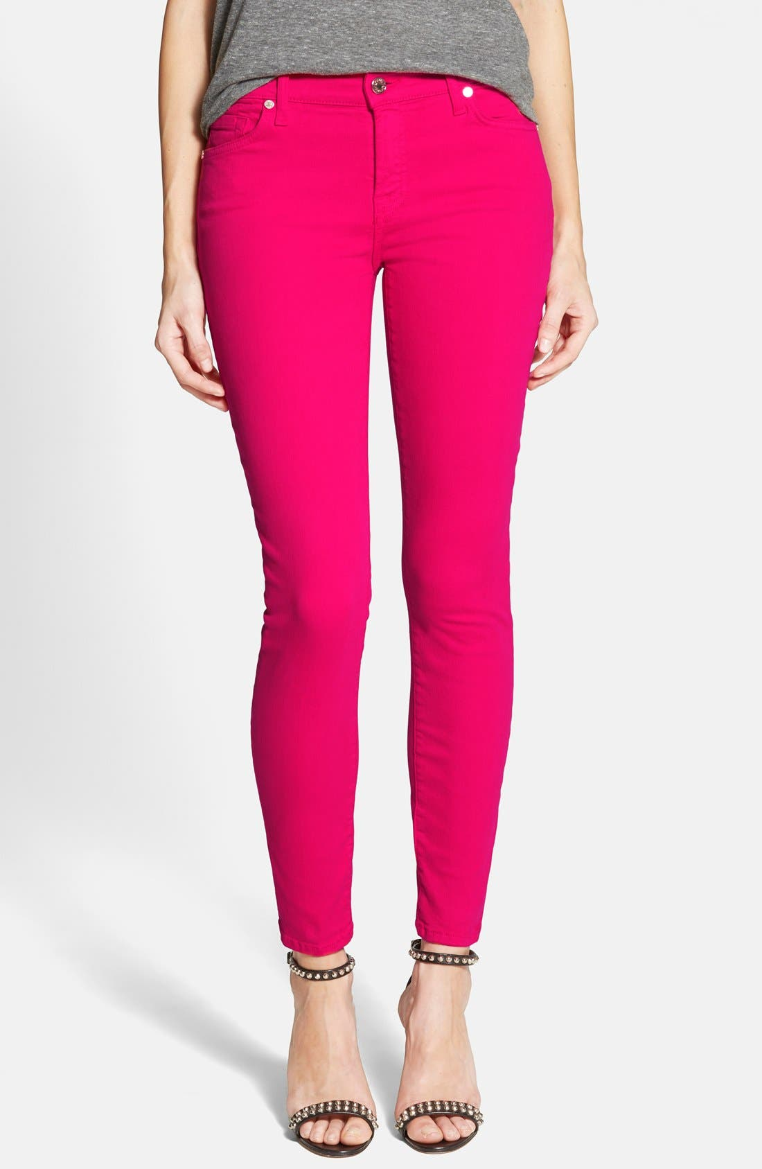 Alternate Image 1 Selected - 7 For All Mankind® 'The Ankle Skinny' Jeans (Paradise Pink)