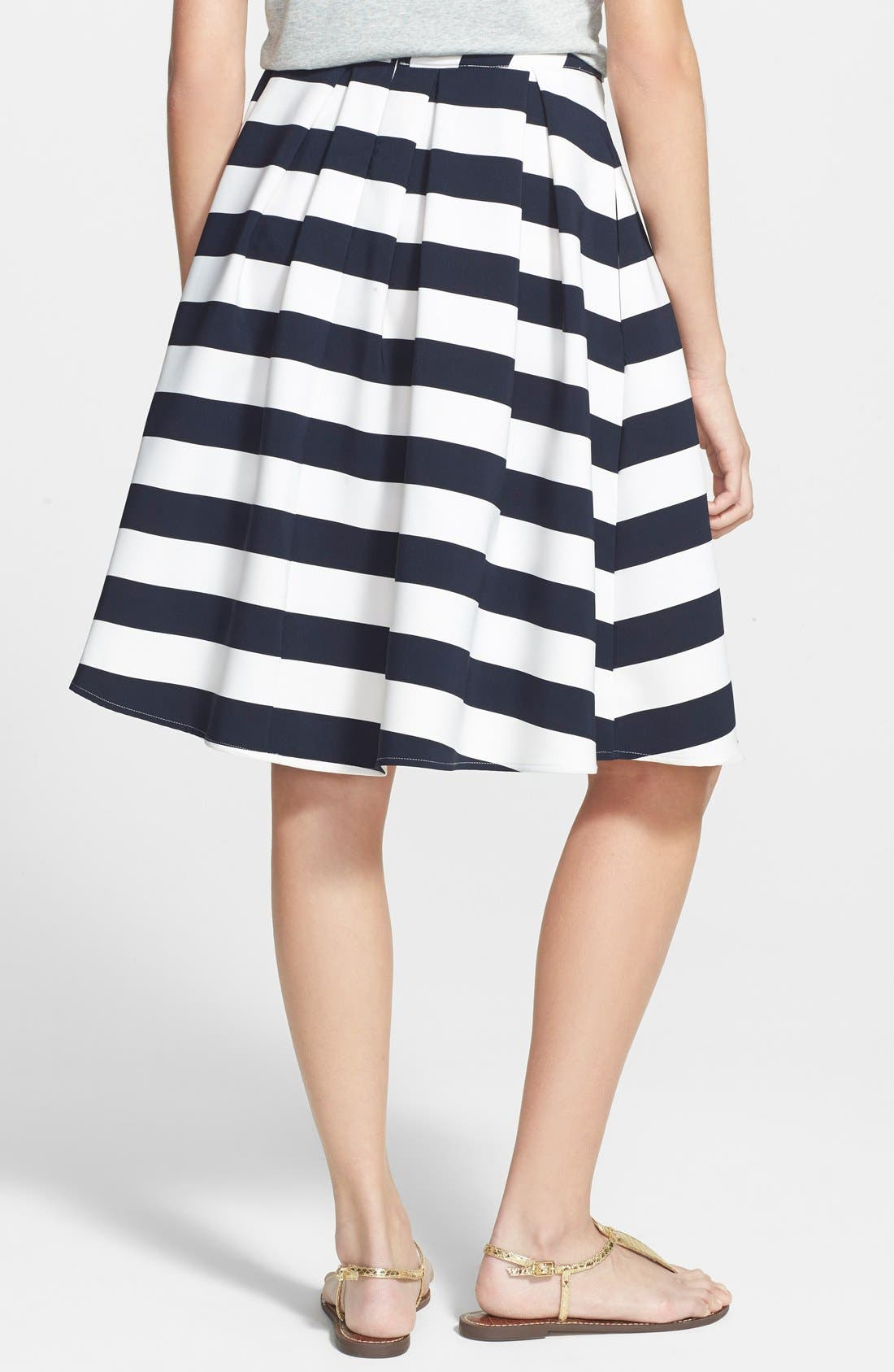 Alternate Image 2  - Lucy Paris 'Bardot' Pleated Stripe Midi Skirt