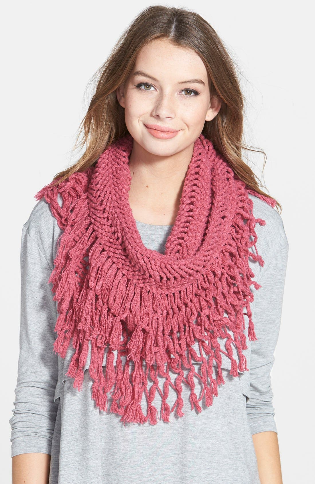 Main Image - BP. Knotted Fringe Knit Infinity Scarf
