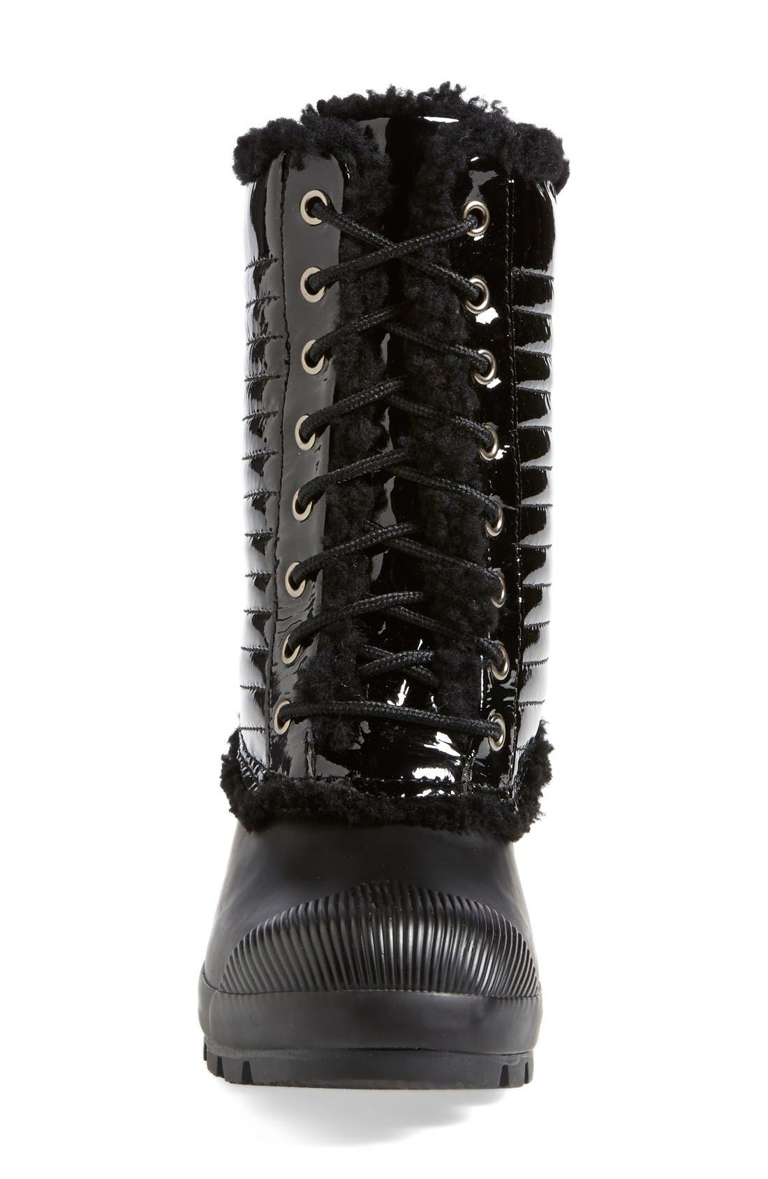 Alternate Image 4  - Hunter Original Genuine Shearling & Patent Leather Lace-Up Rain Boot (Women)