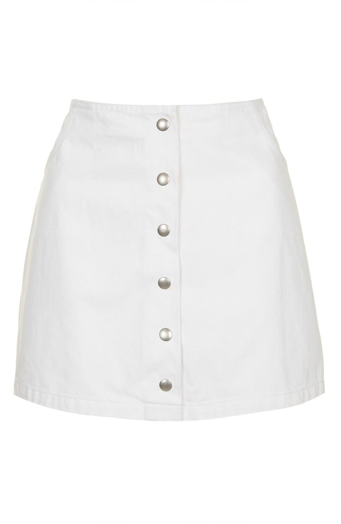 Alternate Image 5  - Topshop 'Popper' Denim Miniskirt (Brit Pop-In)