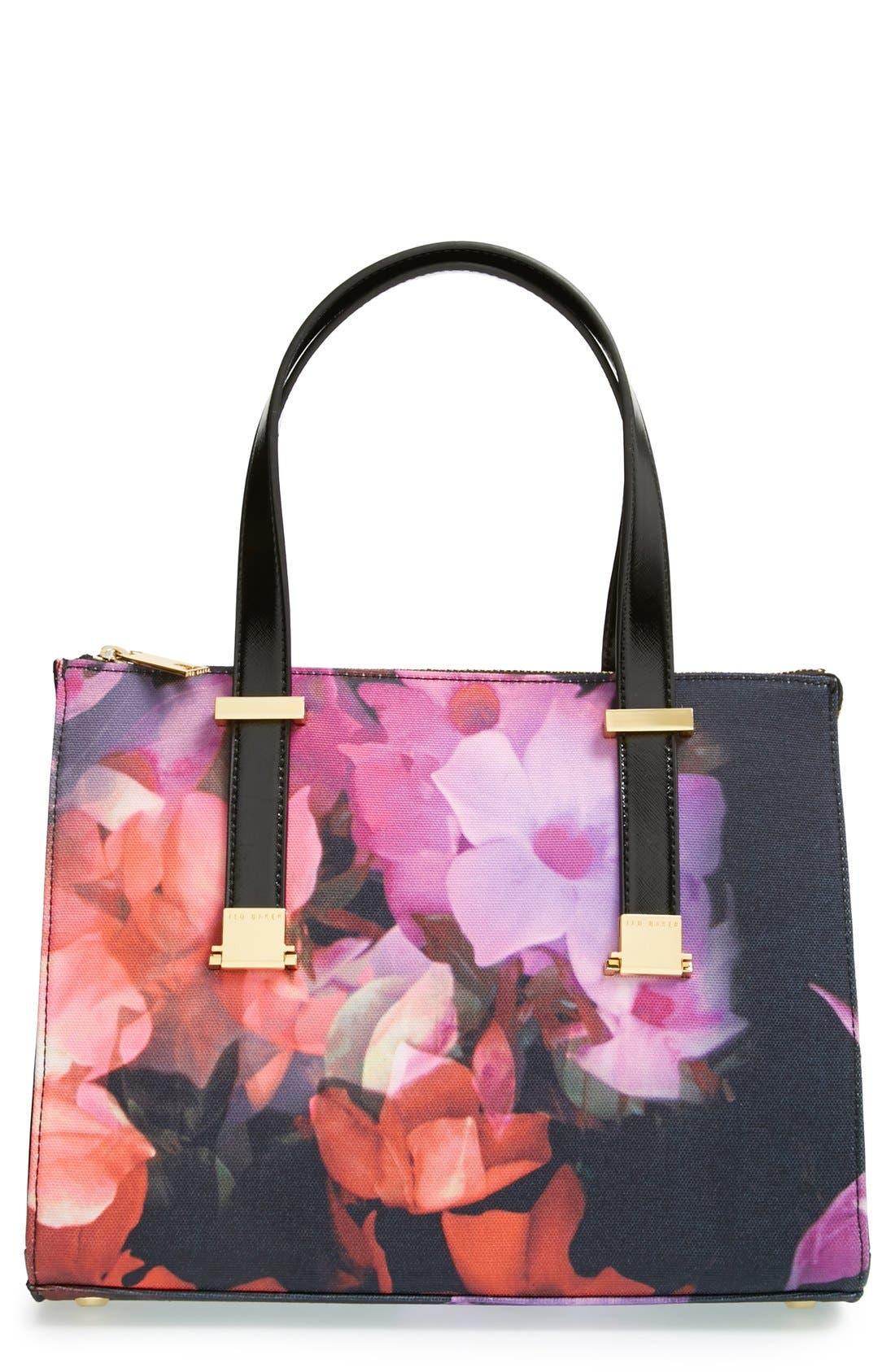 Alternate Image 1 Selected - Ted Baker London 'Cascading Floral' Canvas Shopper