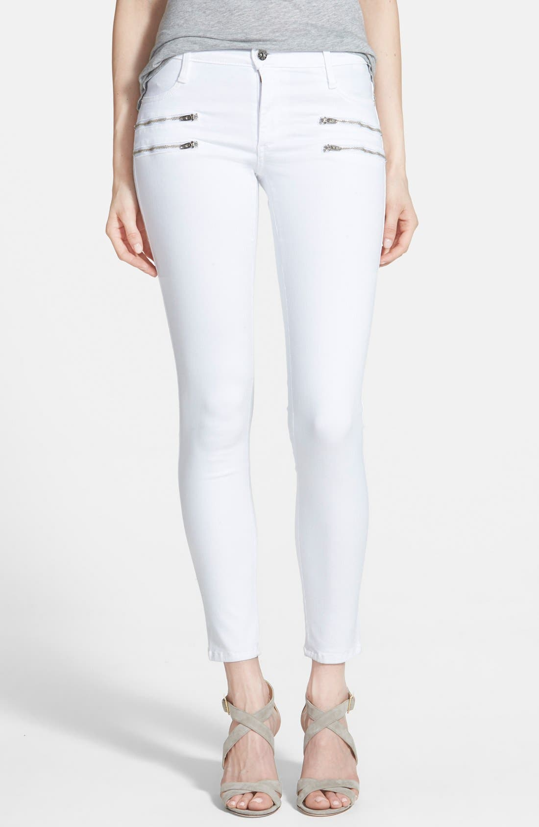 Alternate Image 1  - James Jeans 'Twiggy' Exposed Zip Skinny Jeans (White Clean)