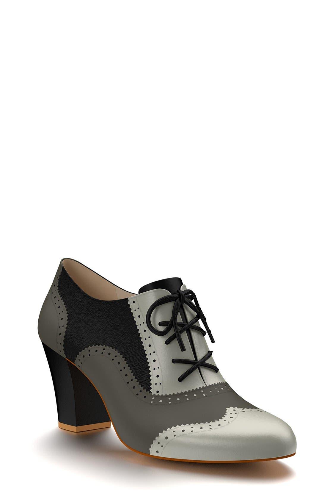 Alternate Image 1 Selected - Shoes of Prey Colorblock Genuine Calf Hair Oxford Bootie (Women)