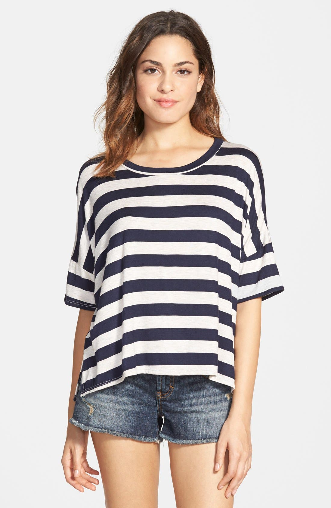 Alternate Image 1 Selected - Mimi Chica Stripe Boxy Tee (Juniors)
