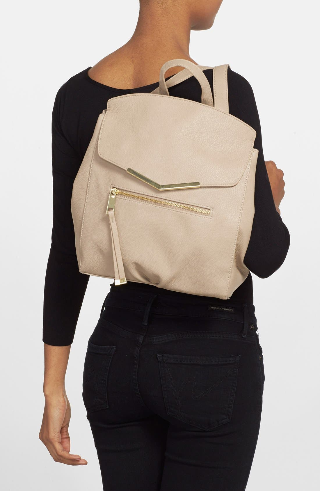 Alternate Image 2  - T-Shirt & Jeans Faux Leather Backpack