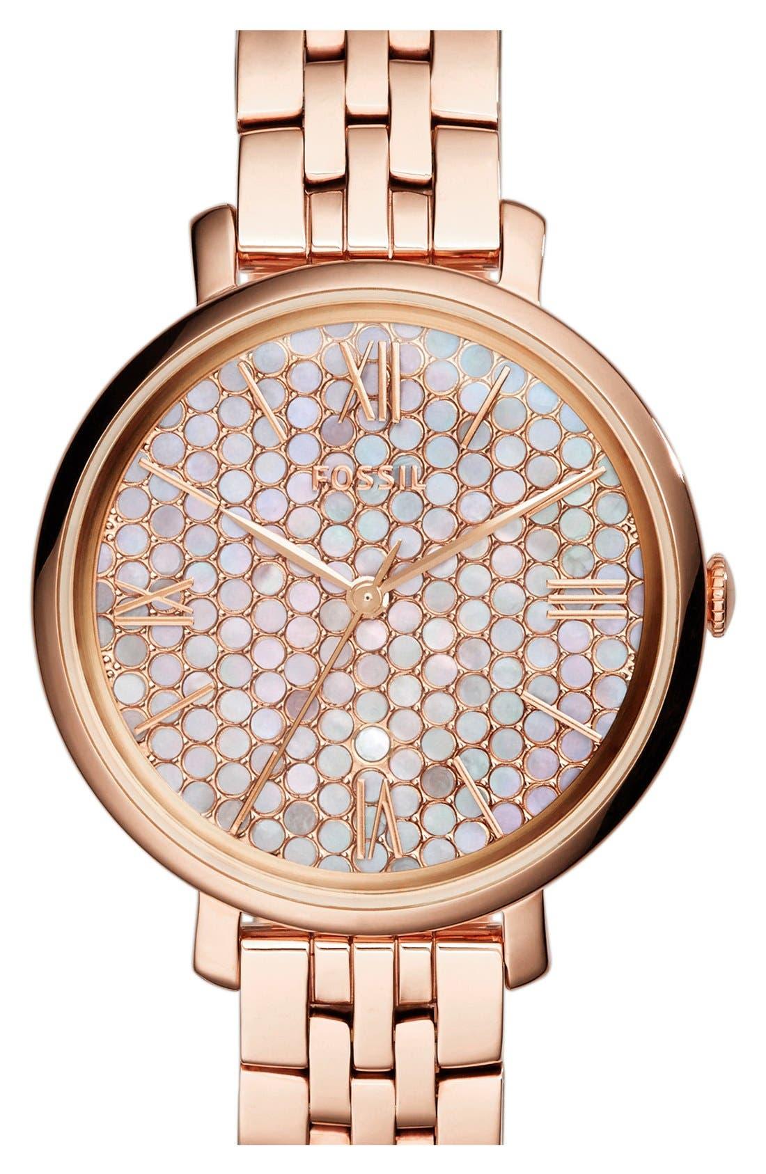 Alternate Image 1 Selected - Fossil 'Jacqueline' Round Bracelet Watch, 36mm