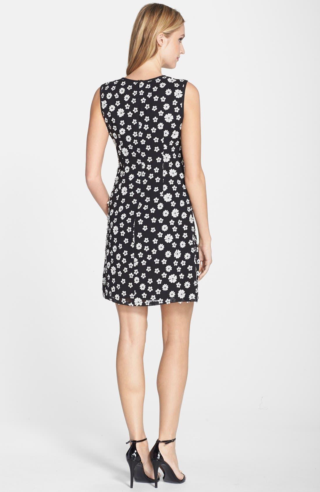 Alternate Image 2  - Adrianna Papell Flower Appliqué Shift Dress