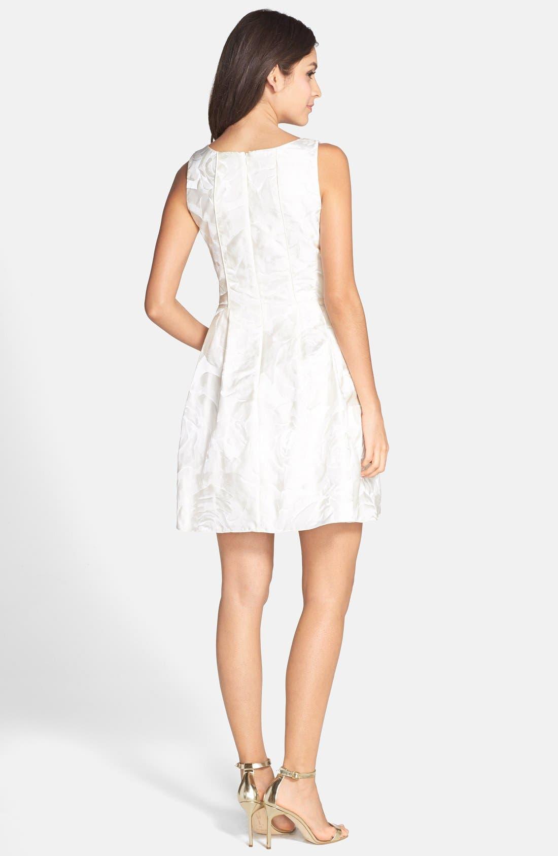 Alternate Image 2  - Aidan by Aidan Mattox Jacquard Sleeveless Fit & Flare Dress