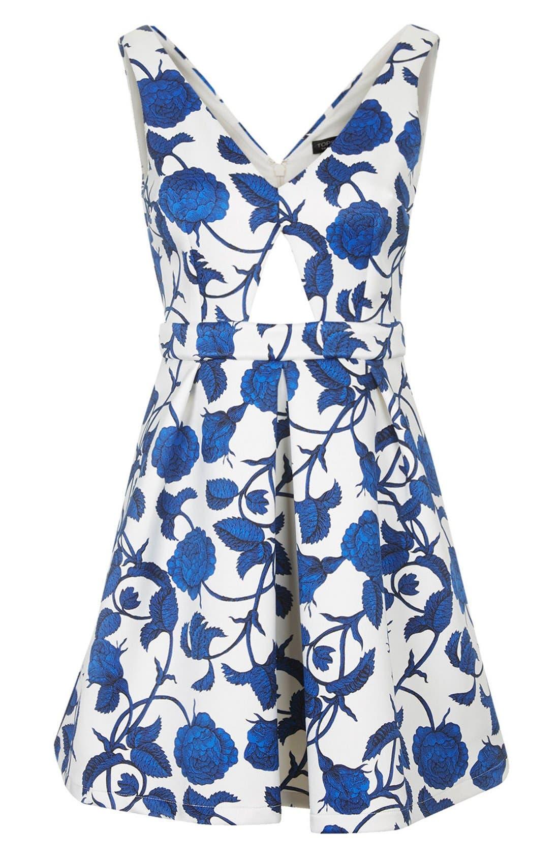 Alternate Image 3  - Topshop Cutout Rose Print Dress
