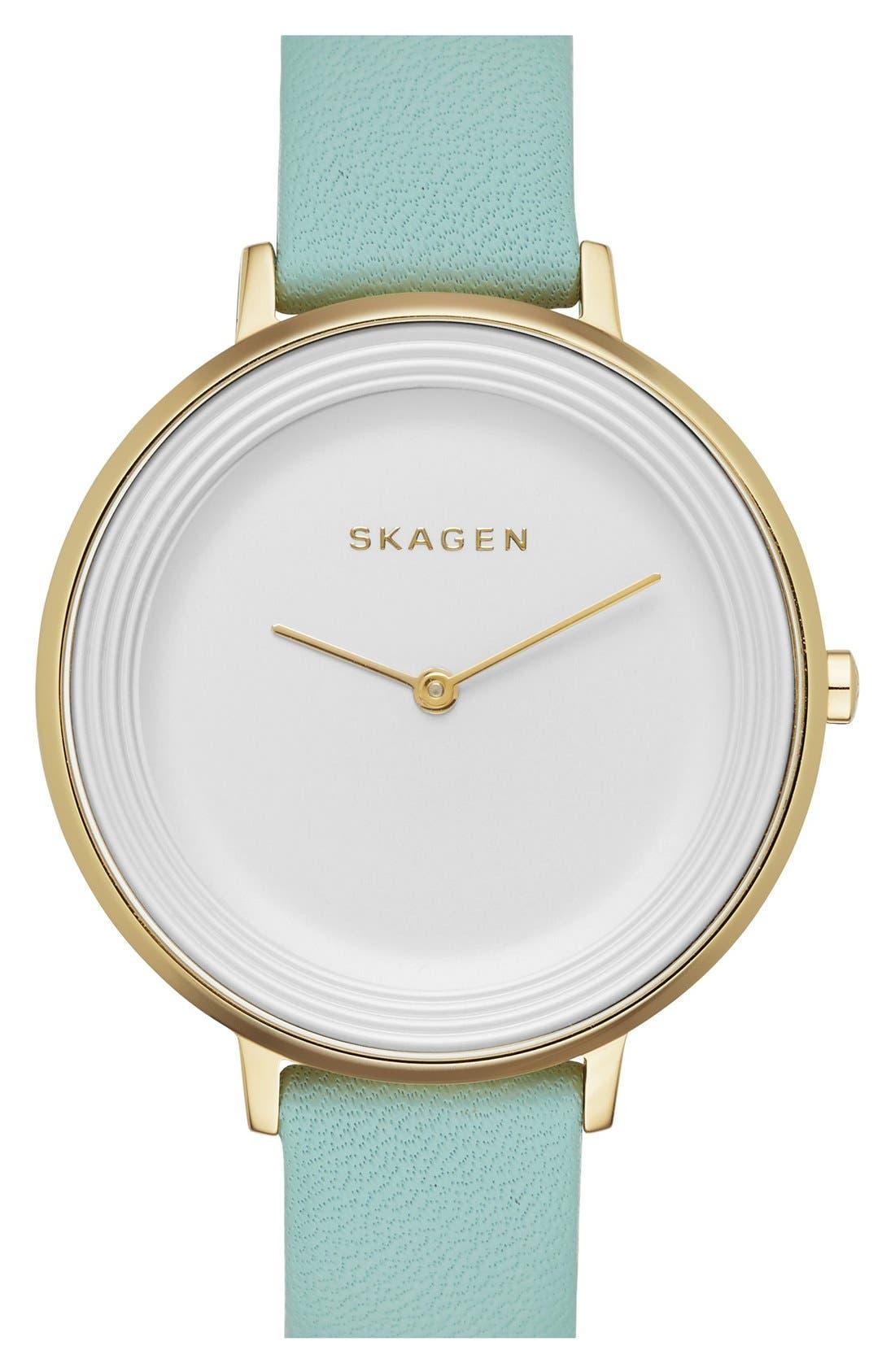 Alternate Image 1 Selected - Skagen 'Gitte' Round Slim Leather Strap Watch, 38mm