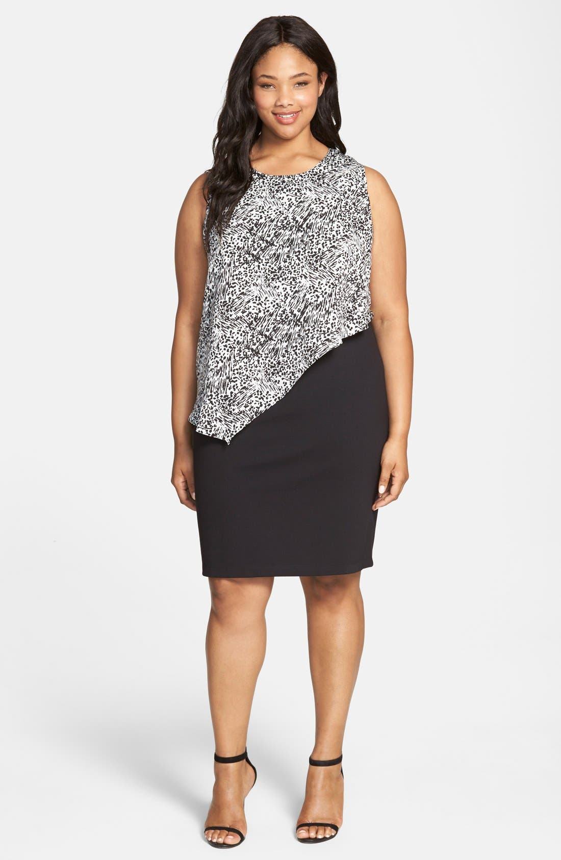 Alternate Image 4  - DKNYC Animal Print Overlay Ponte Sheath Dress (Plus Size)