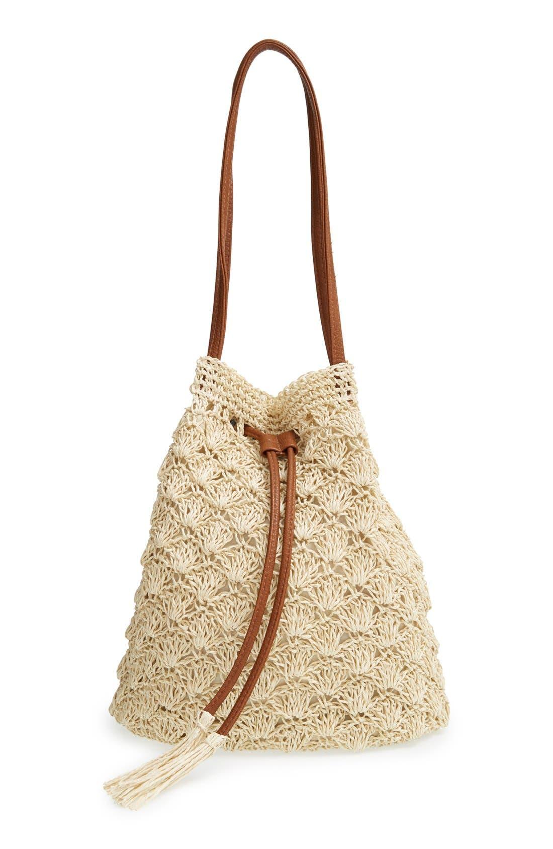 Main Image - Street Level Crochet Straw Bucket Bag