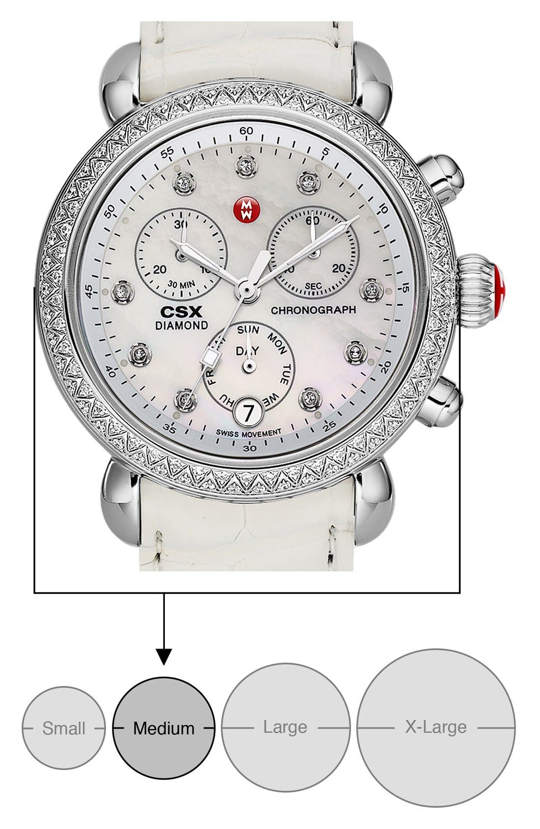 Alternate Image 5  - MICHELE 'CSX-36 Diamond' Diamond Dial Two Tone Watch Case, 36mm