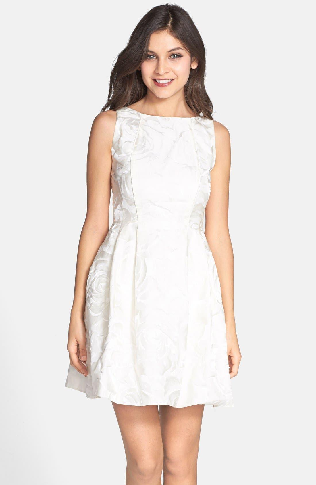 Main Image - Aidan by Aidan Mattox Jacquard Sleeveless Fit & Flare Dress