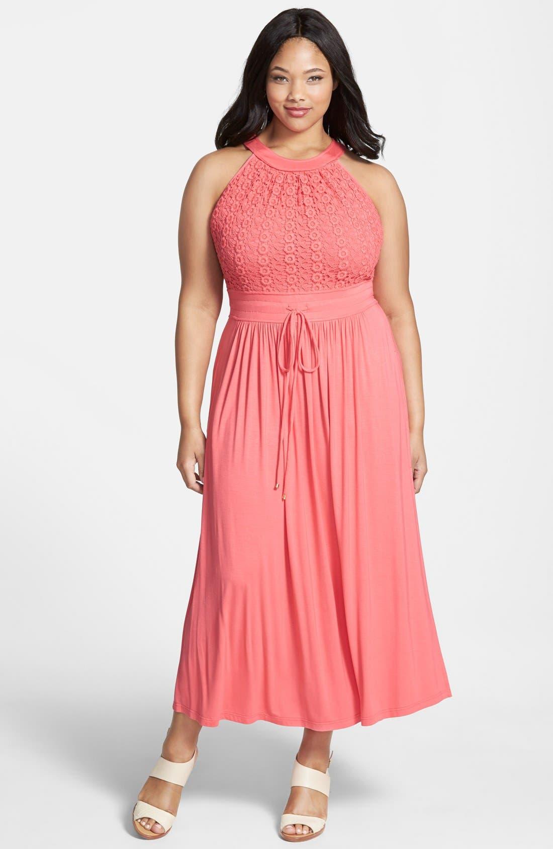 Alternate Image 1 Selected - Calvin Klein Lace Bodice Maxi Dress (Plus Size)