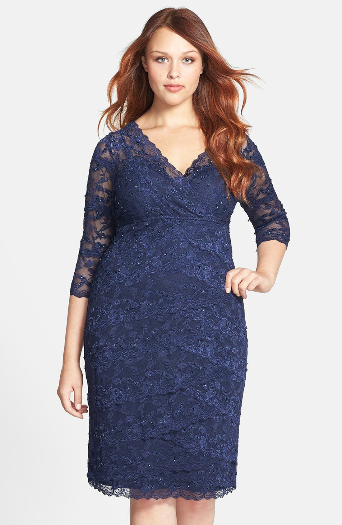 Alternate Image 1 Selected - Marina Embellished Three Quarter Sleeve Lace Dress (Plus Size)