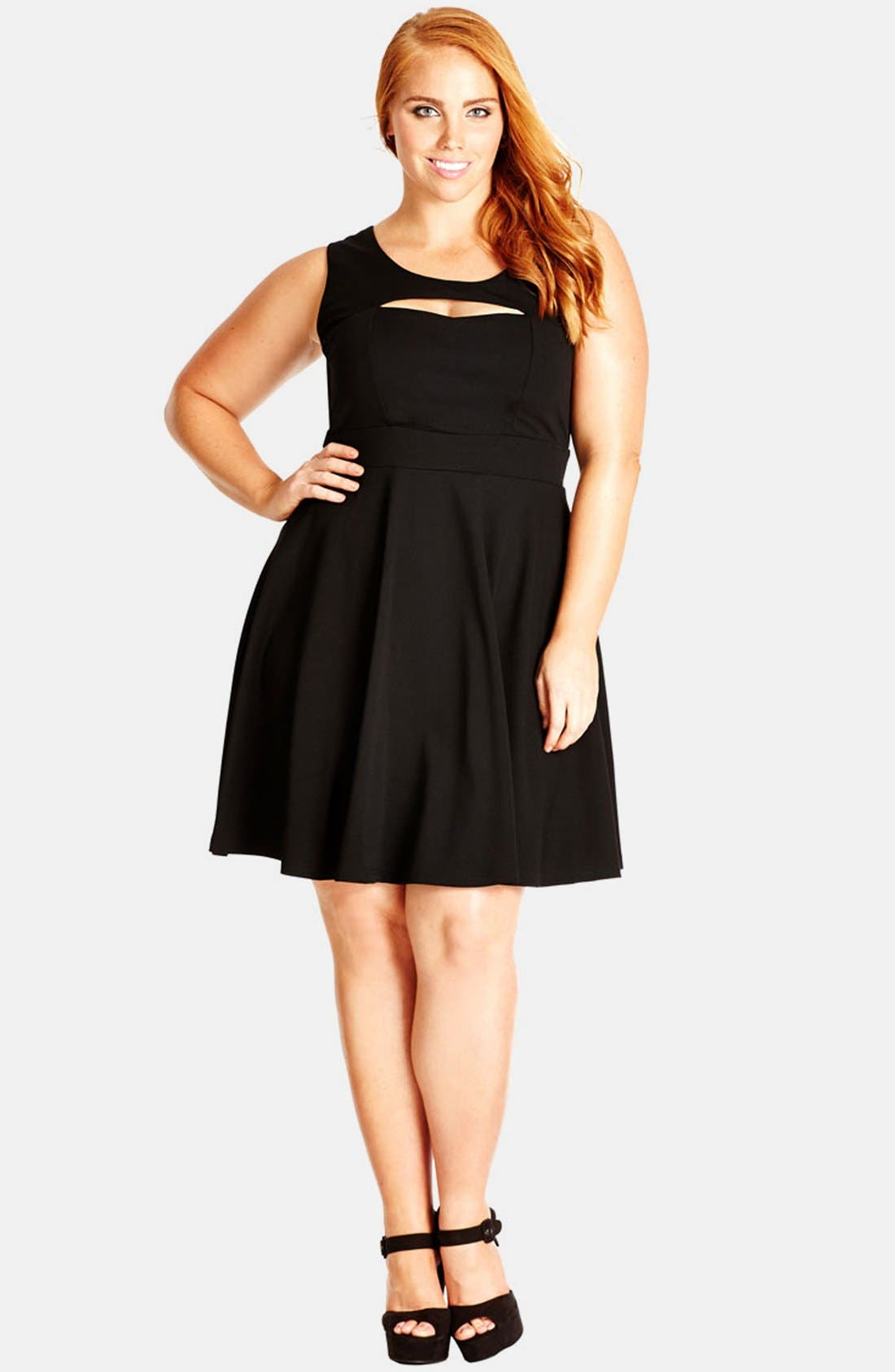 Alternate Image 1 Selected - City Chic 'Peek-a-Boo' Fit & Flare Dress (Plus Size)