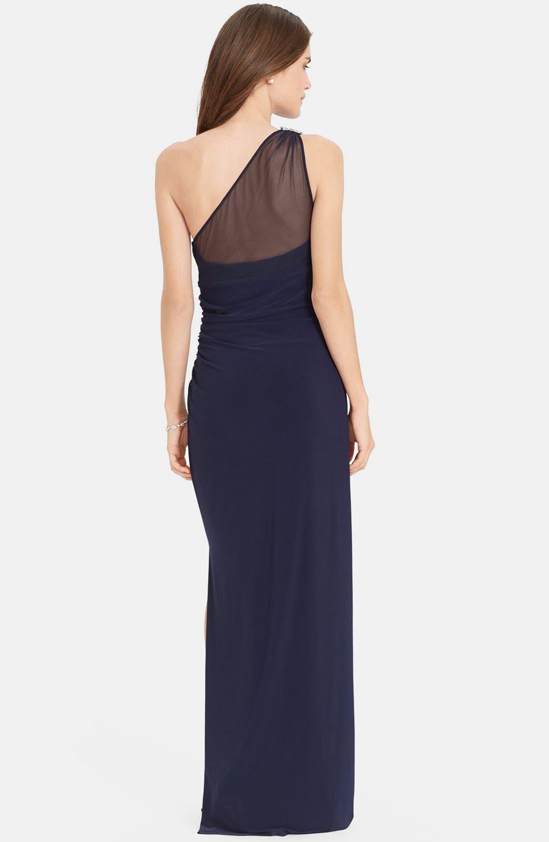 Alternate Image 2  - Lauren Ralph Lauren Embellished One-Shoulder Jersey Column Gown
