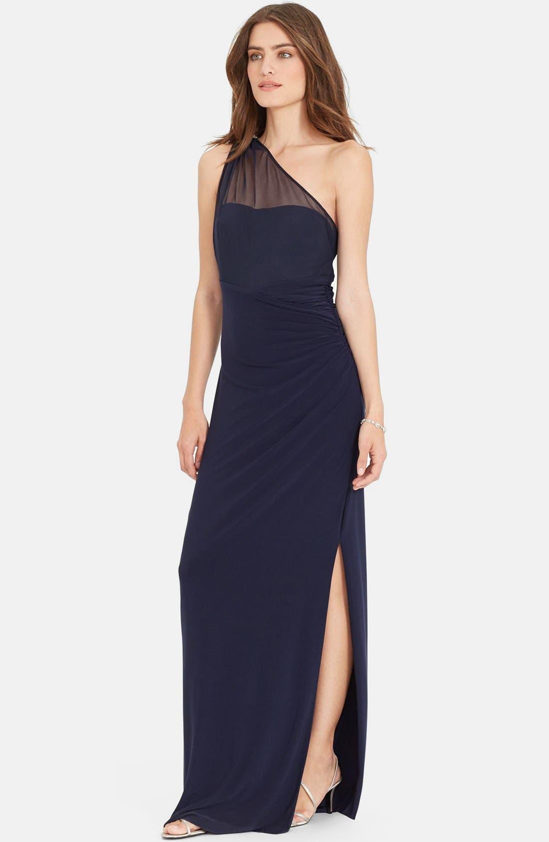 Main Image - Lauren Ralph Lauren Embellished One-Shoulder Jersey Column Gown