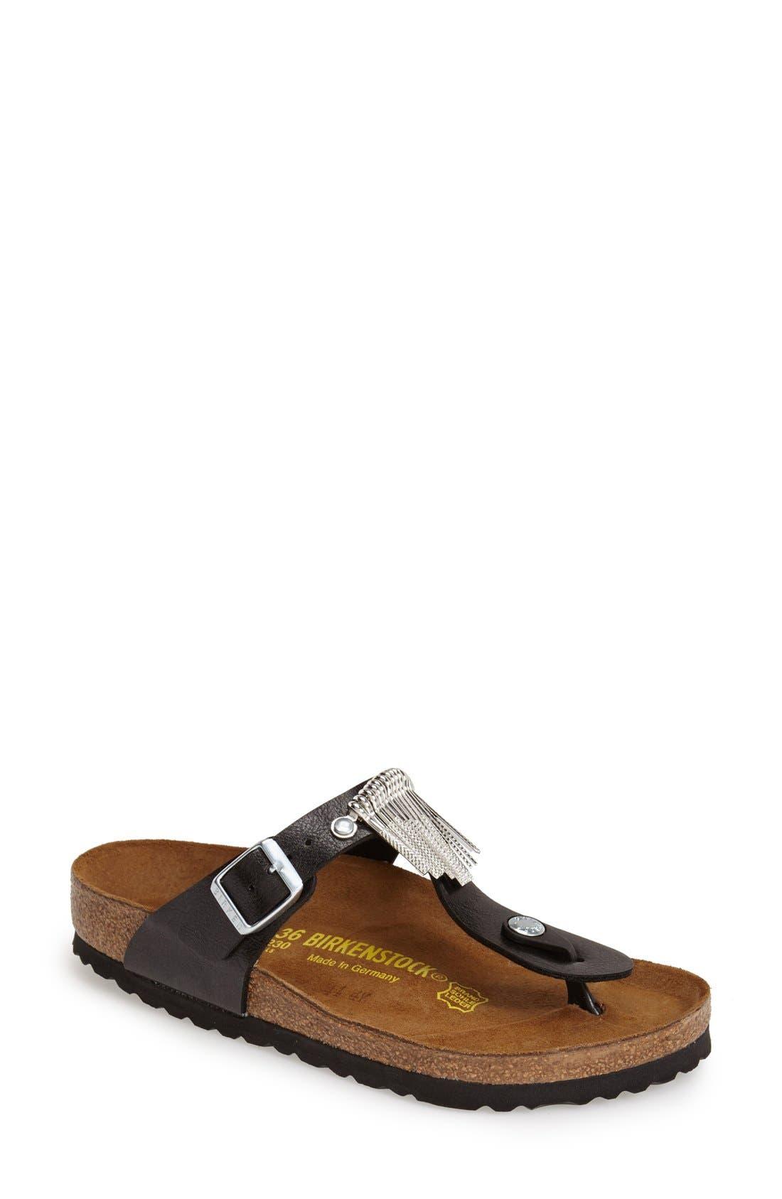 Birkenstock 'Gizeh' Fringe Thong Sandal (Women)