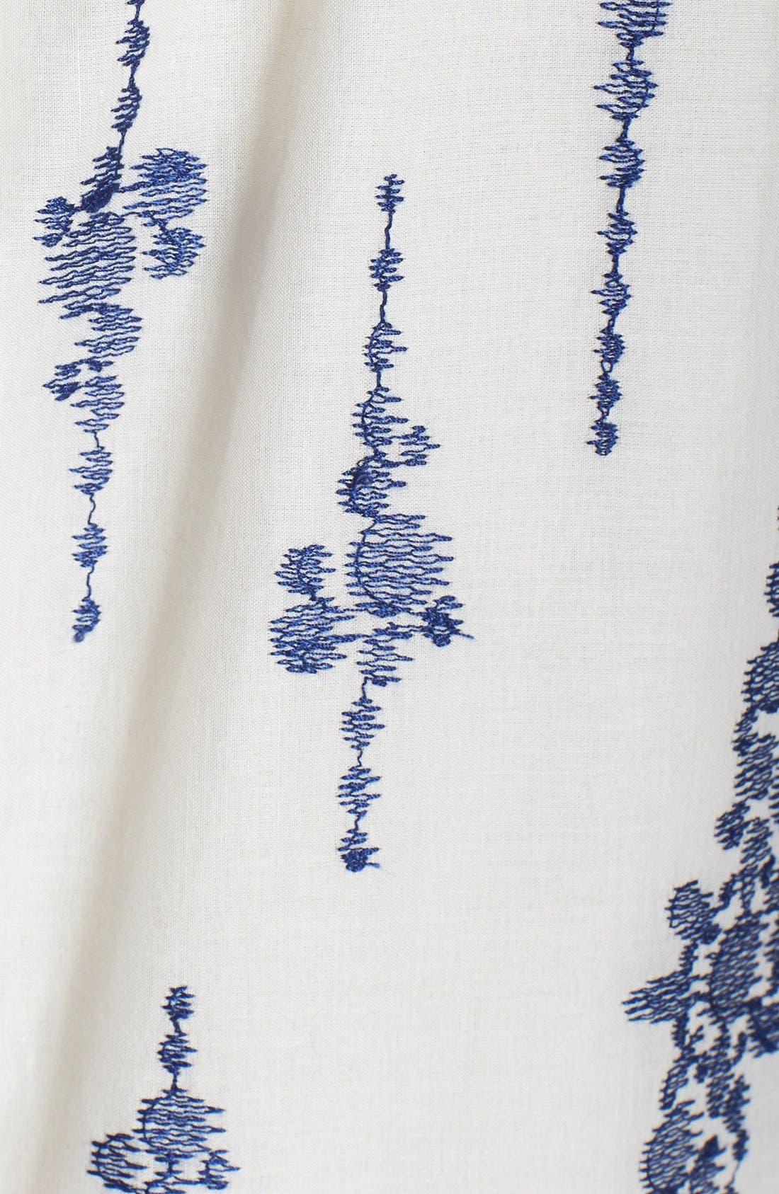 Alternate Image 4  - Taylor Dresses Embroidered Cotton Voile Shift Dress
