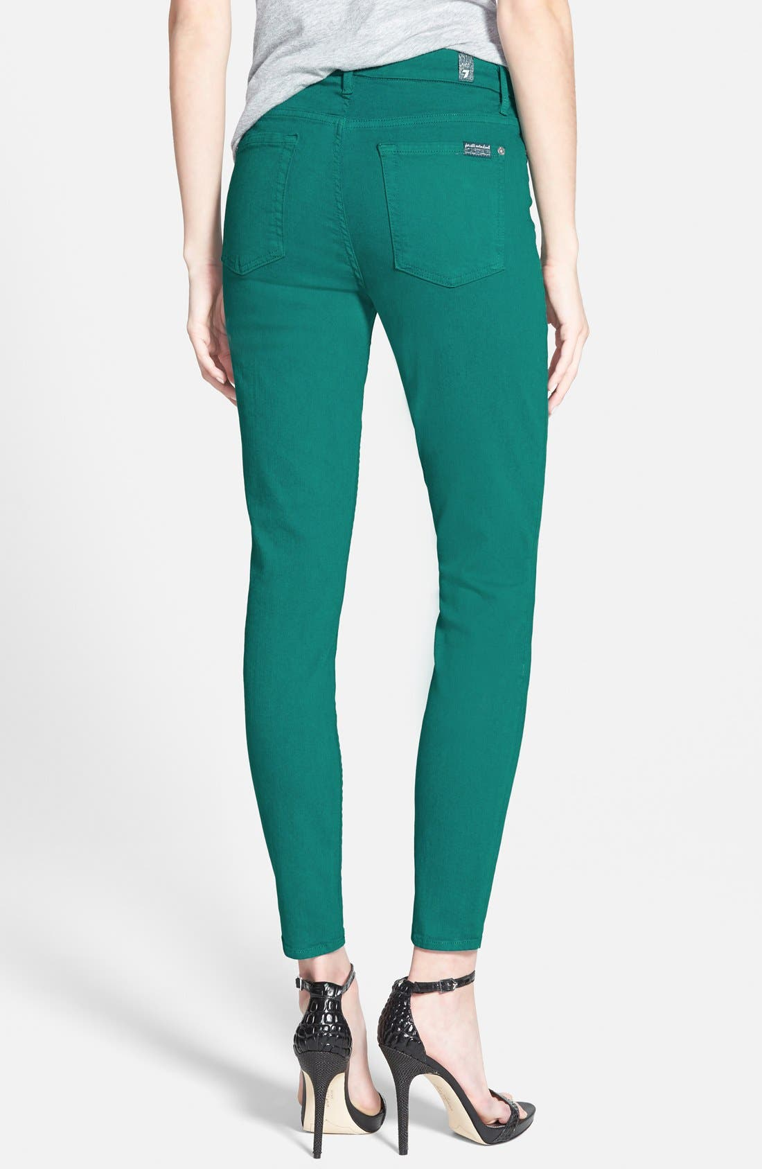 Alternate Image 2  - 7 For All Mankind® High Rise Ankle Skinny Jeans (Teal Green)