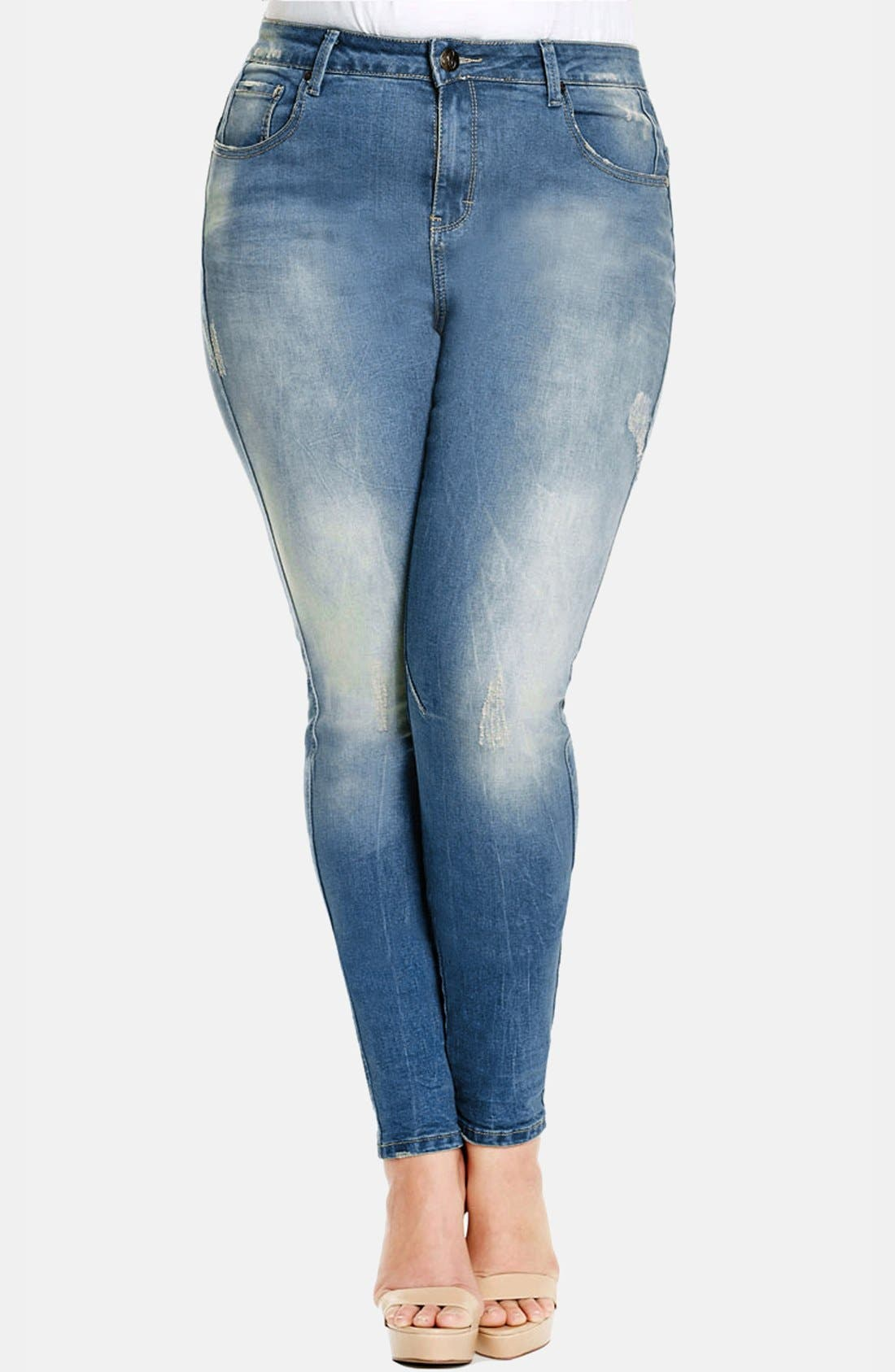 Main Image - City Chic Destructed Stretch Skinny Jeans (Light Denim) (Plus Size)