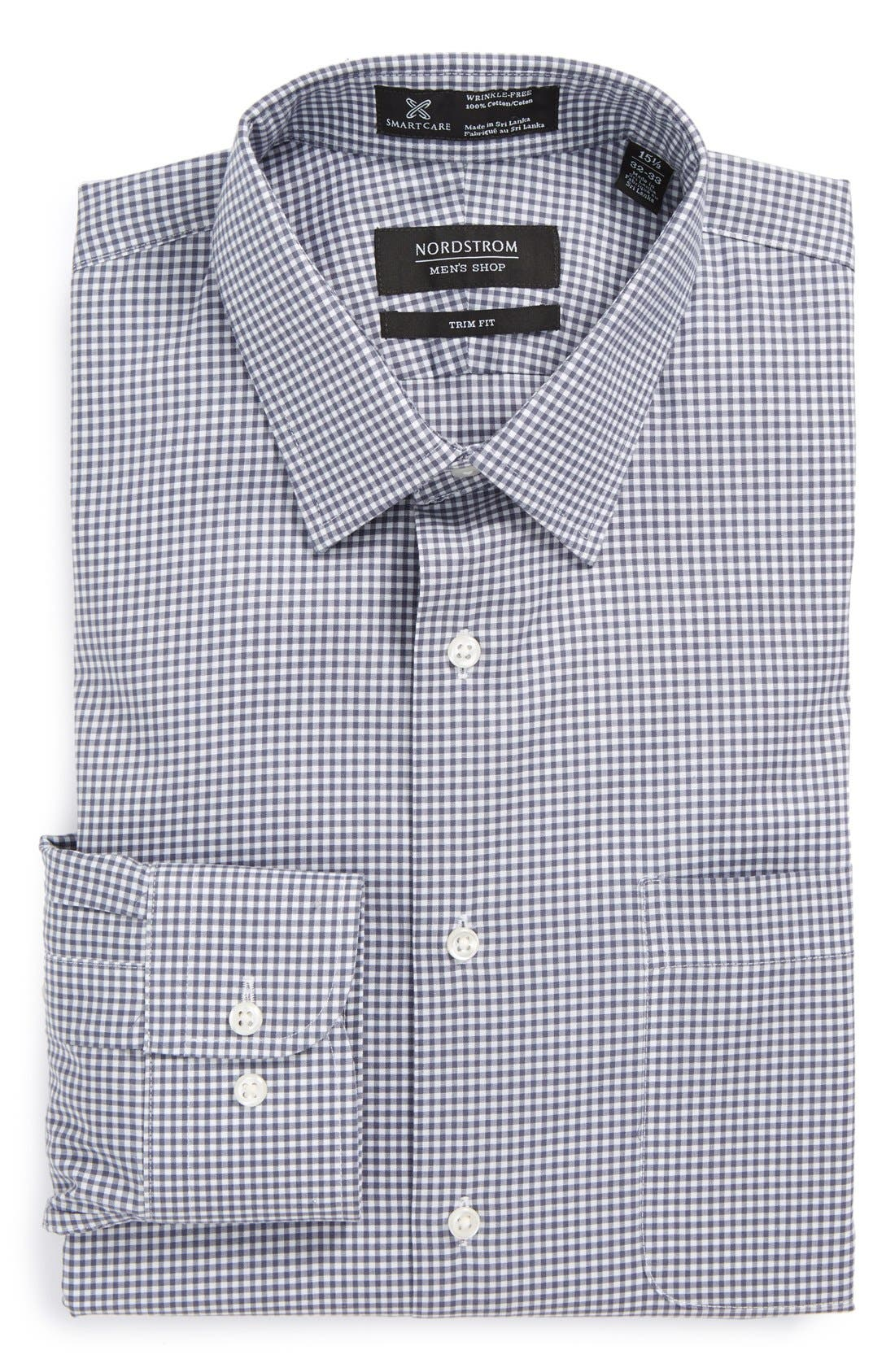 Main Image - Nordstrom Men's Shop Smartcare™ Wrinkle Free Trim Fit Gingham Dress Shirt