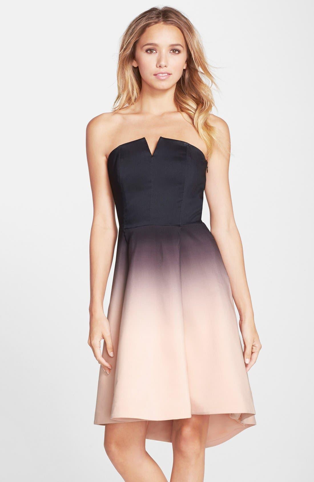 Main Image - Halston Heritage Ombré Strapless Dress