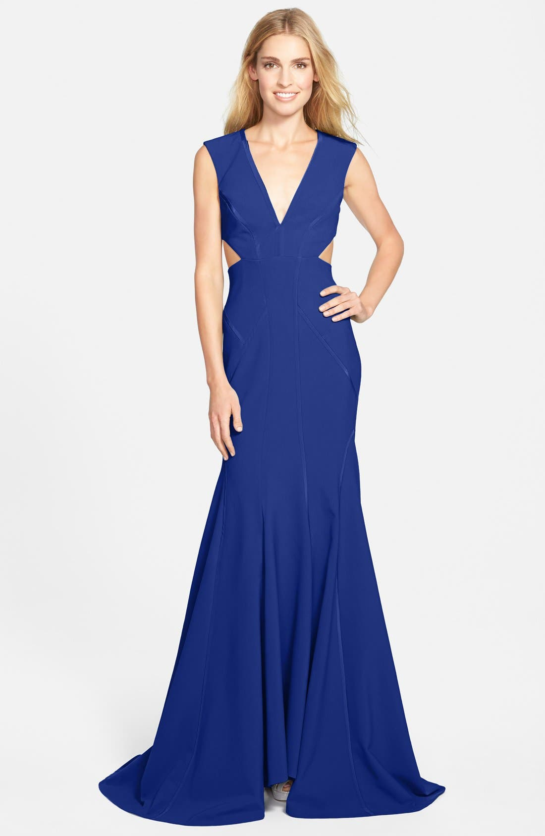 Alternate Image 1 Selected - Nicole Miller Cutout Crepe Mermaid Gown